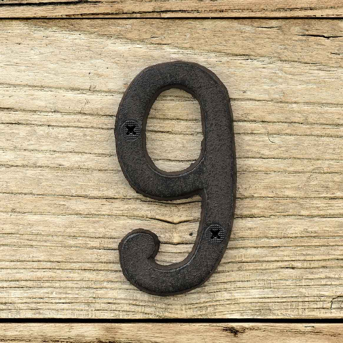 Cast Iron House Number Signs - Number 9
