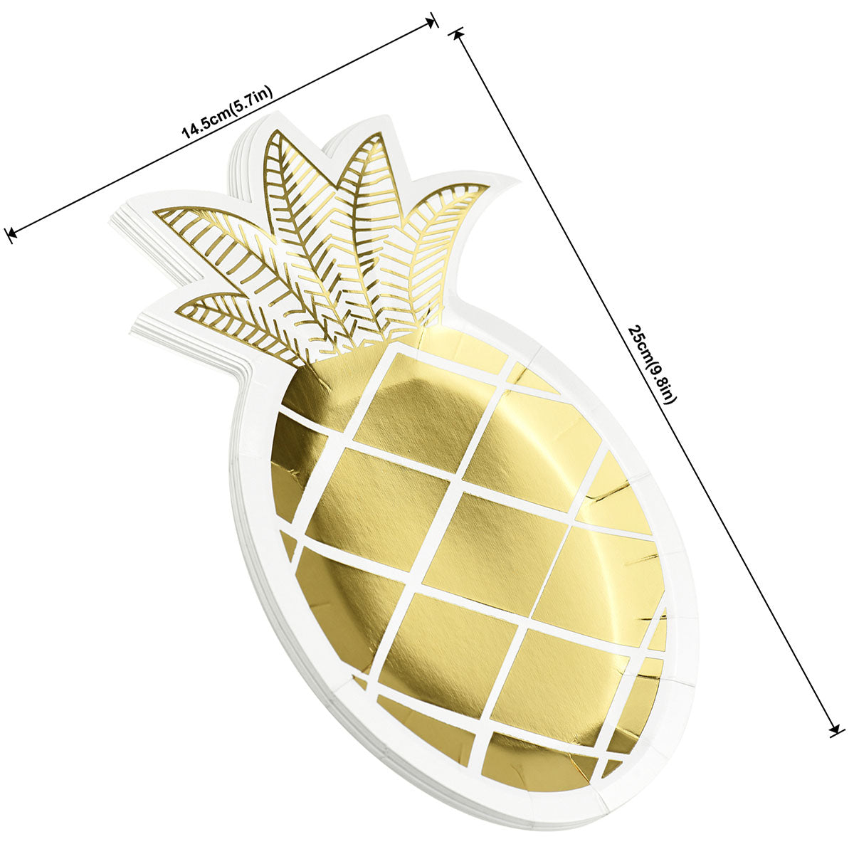 Pineapple Shape Party Paper Plates 24 Pieces