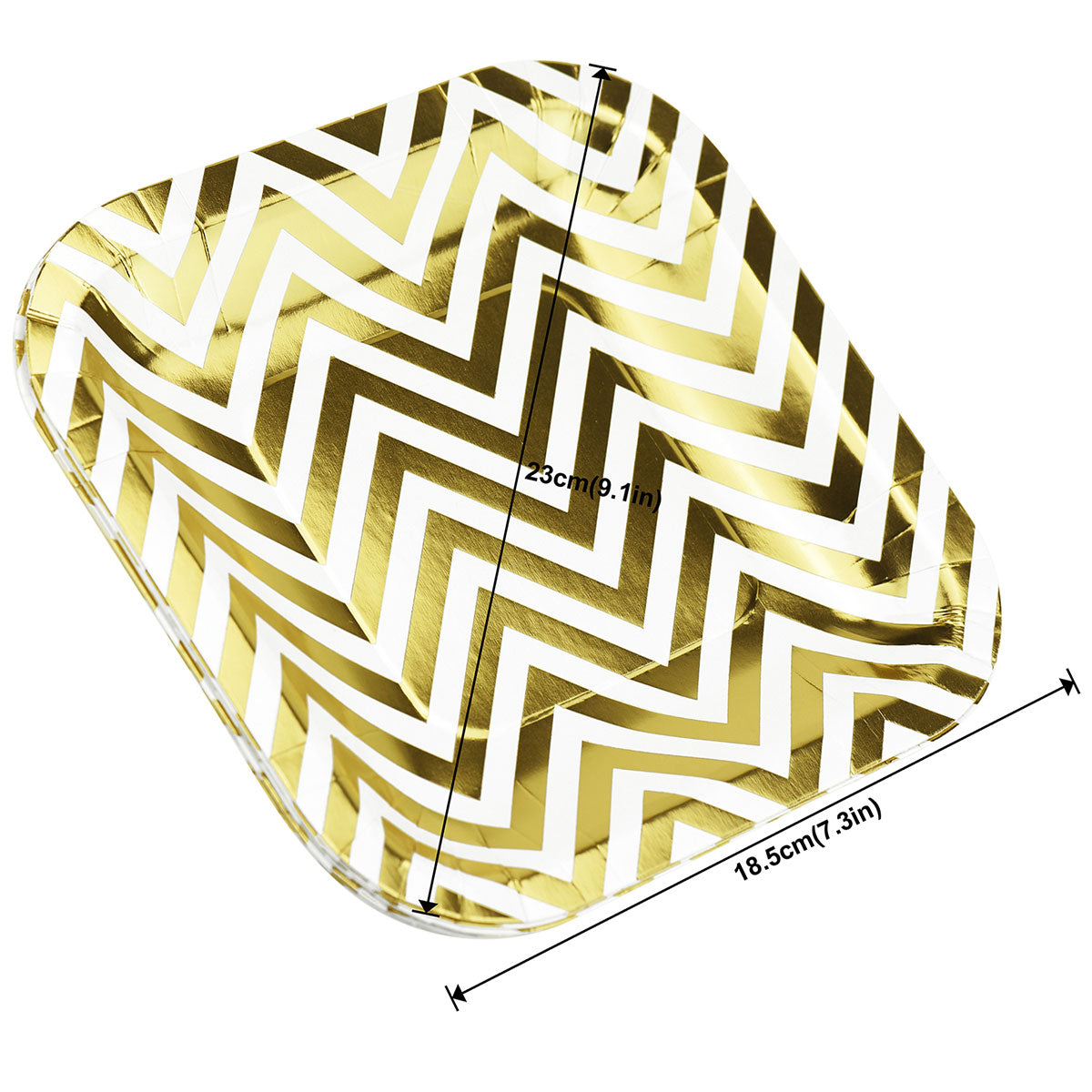 White and Gold Square Party Paper Plates 16 Pieces
