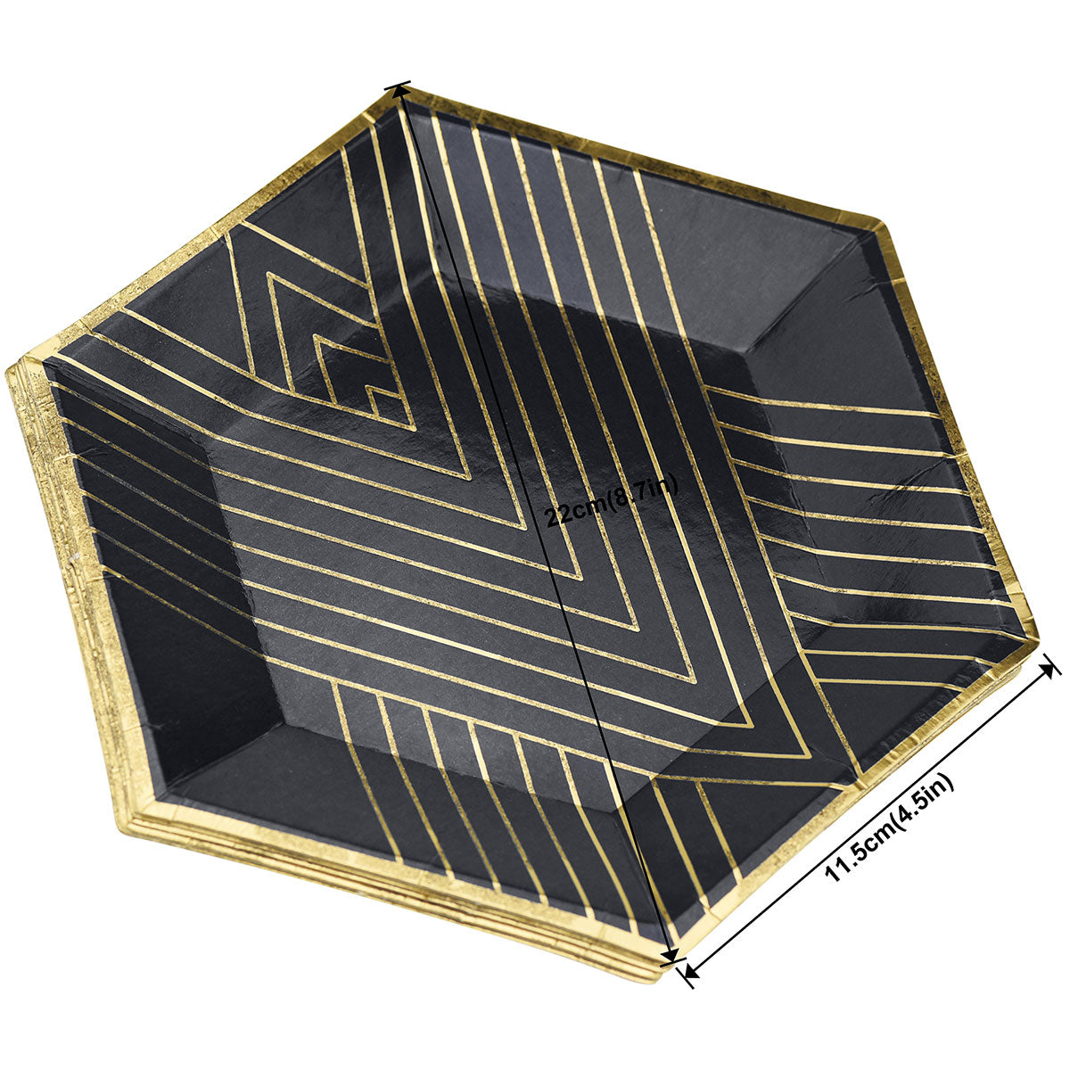 Gold Stripes Black Party Paper Plates (Small) 24 Pieces