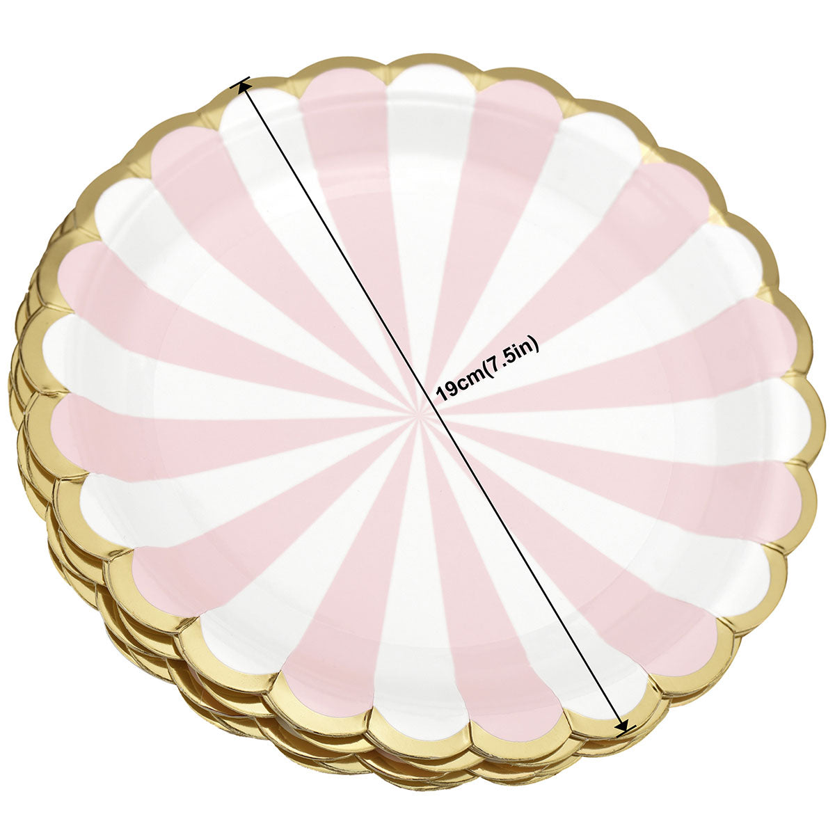 Pink and White Party Paper Plates (Small) 24 Pieces