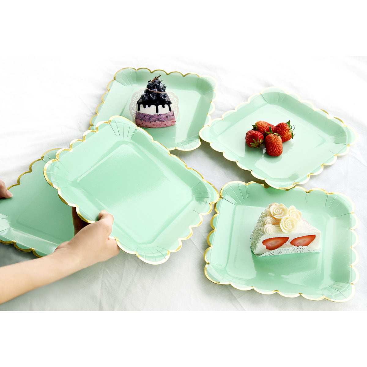 Mint Green Square Party Plates 24 Pieces