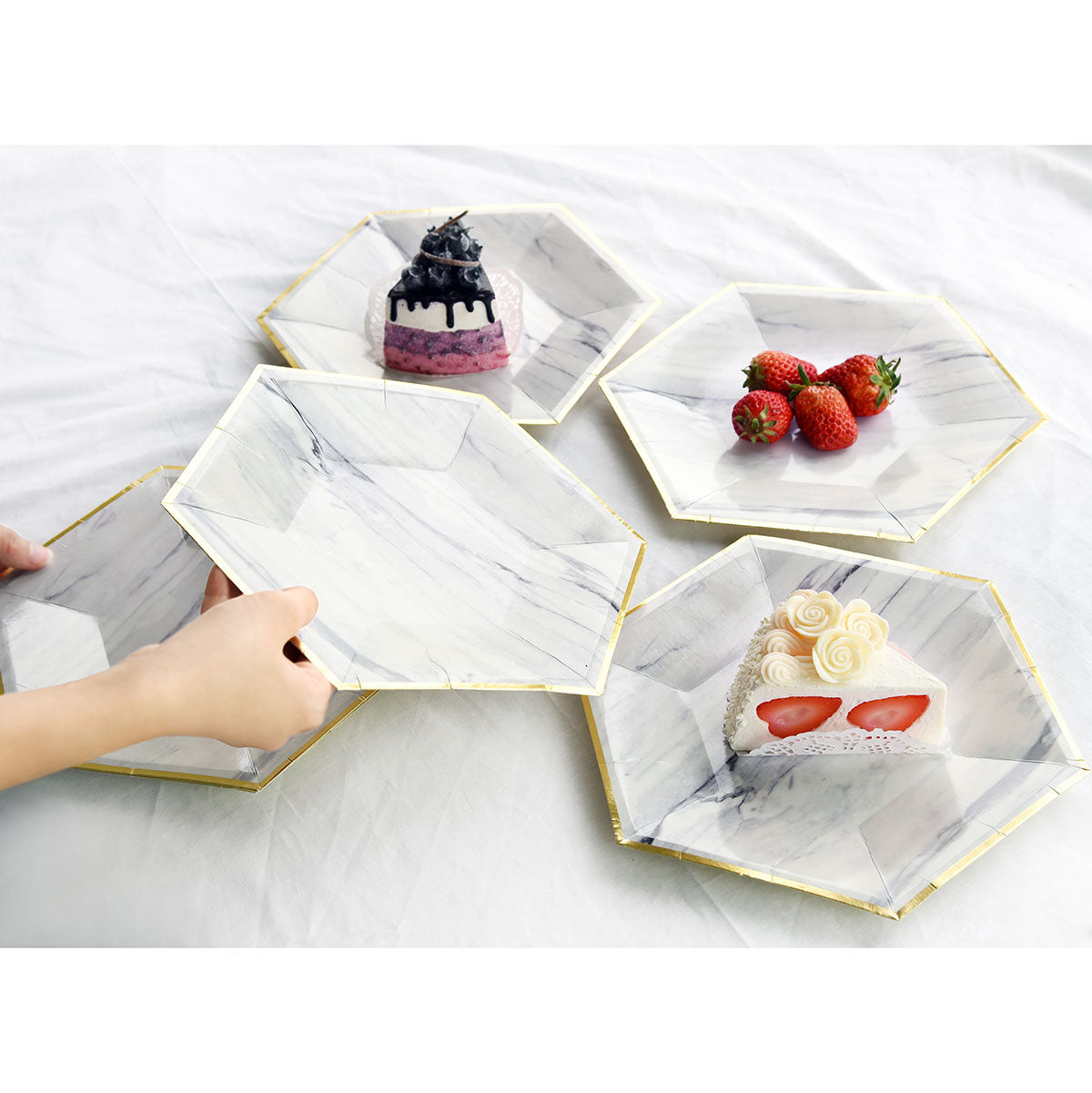 Marble Design Party Paper Plates (Small) 24 Pieces