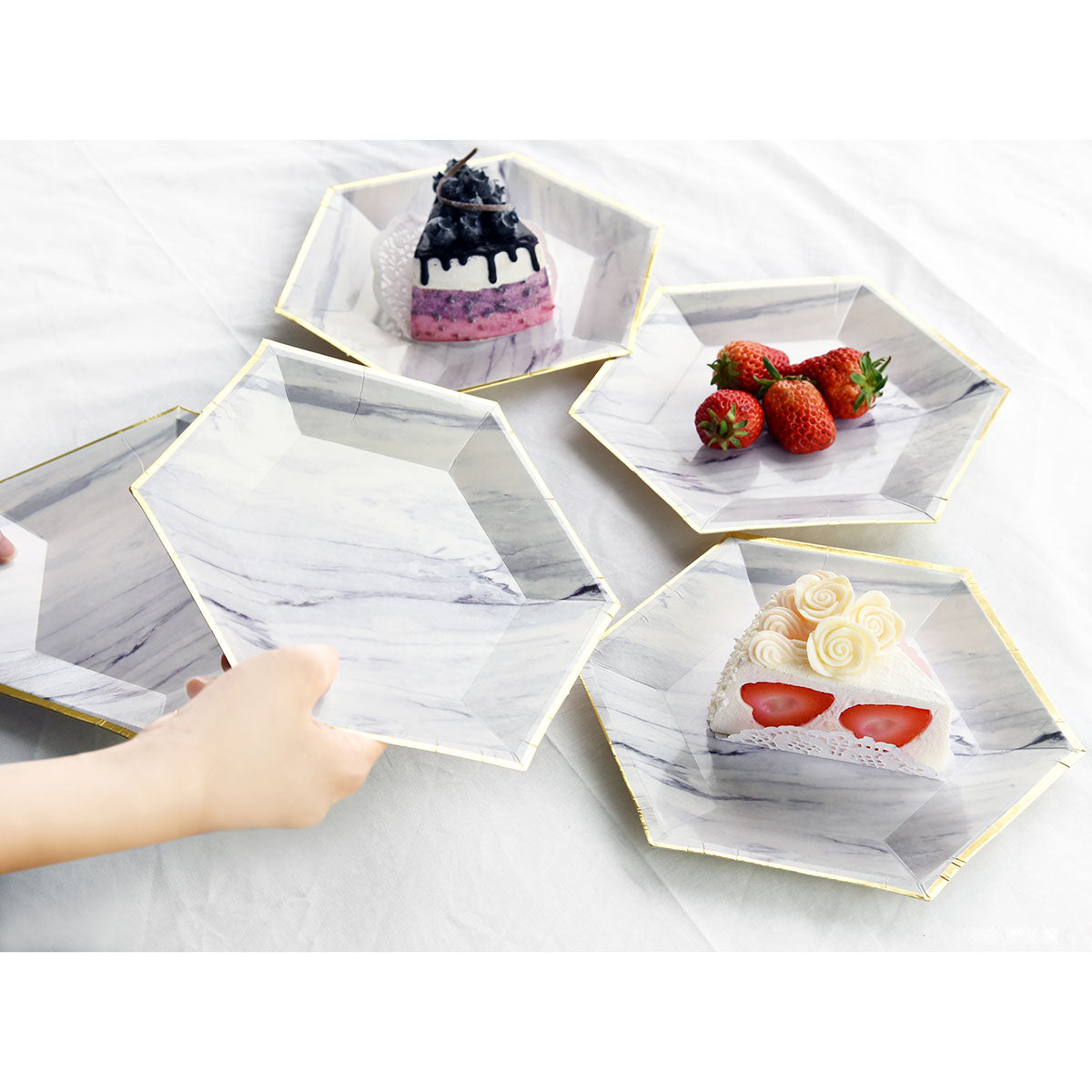 Marble Design Party Paper Plates (Large) 24 Pieces