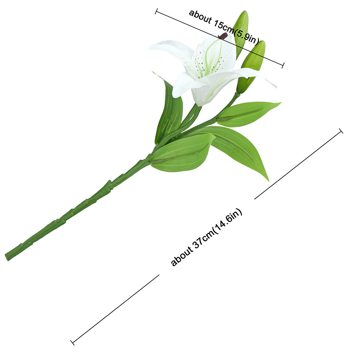 Real Touch White Lilies Artificial Flower Bouquet 5 Stems