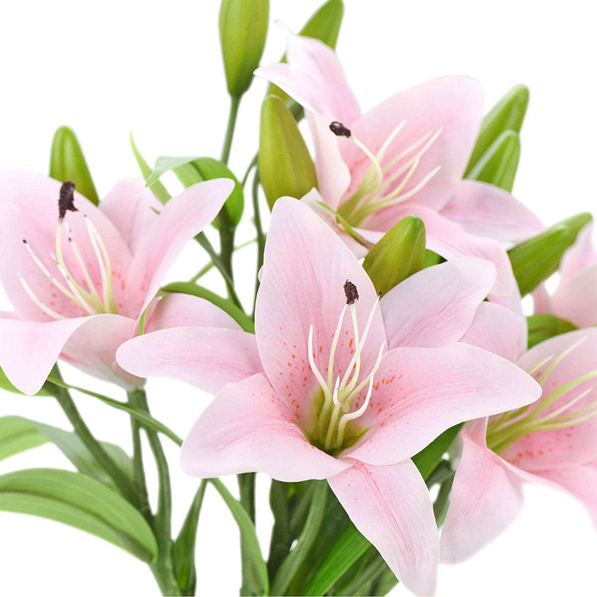 Real Touch Pink Lilies Artificial Flower Bouquet 5 Stems