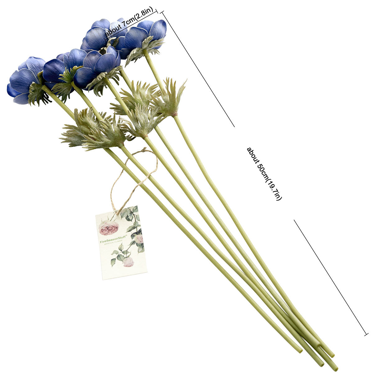 5 Long Stems (Midnight Blue) Anemone 'Real Touch' Artificial Flower