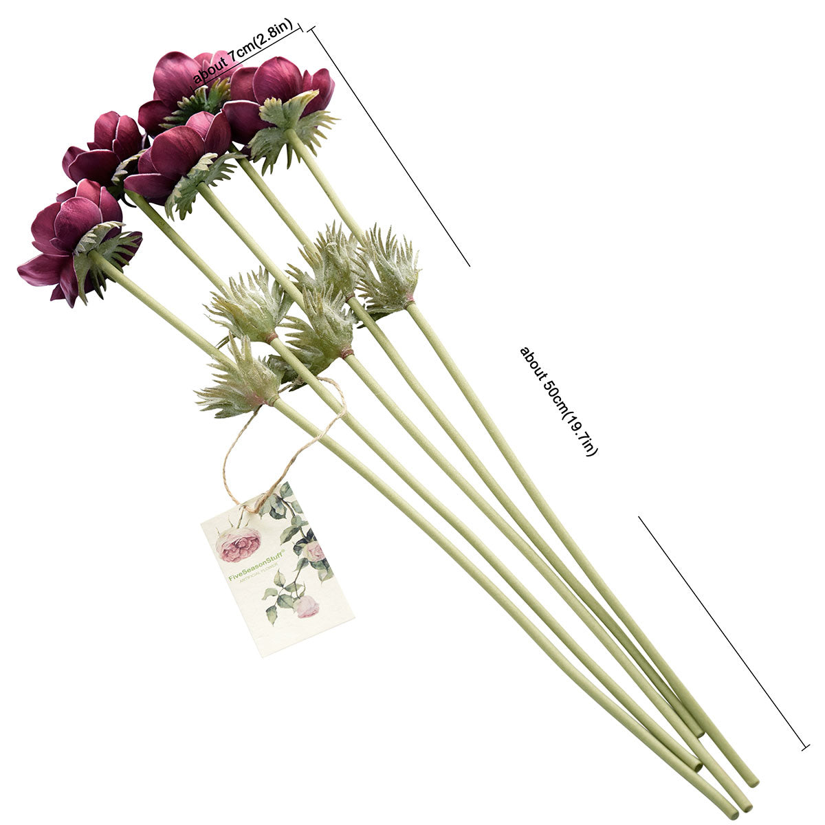 5 Long Stems (Deep Red Wine) Anemone 'Real Touch' Artificial Flower