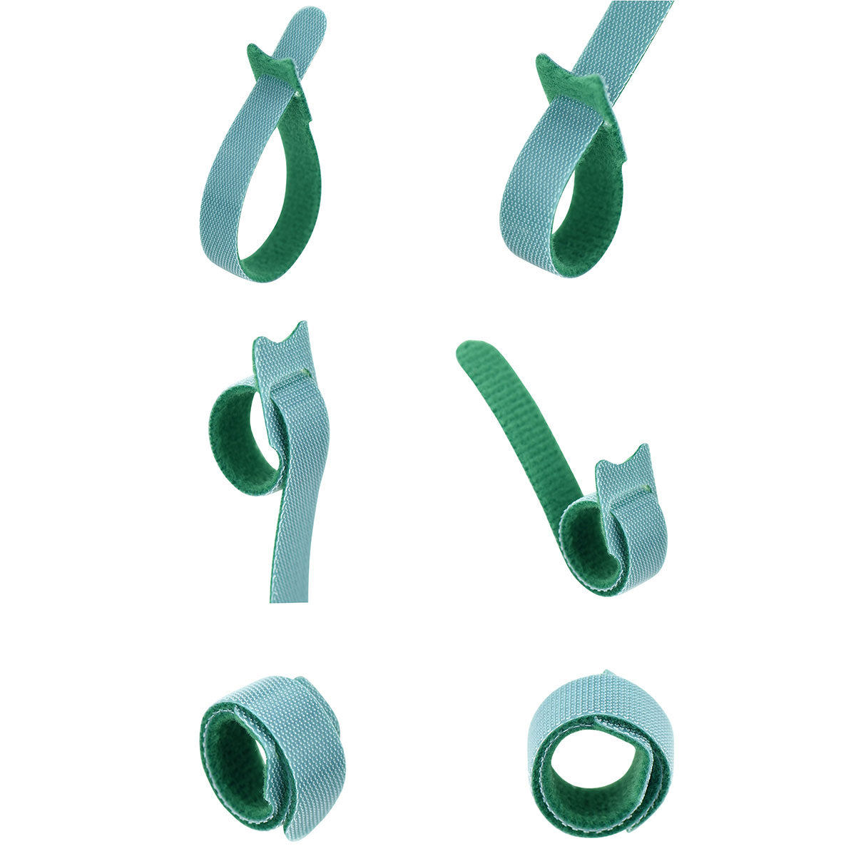 Green Hook and Loop Cable Ties 50 Pieces
