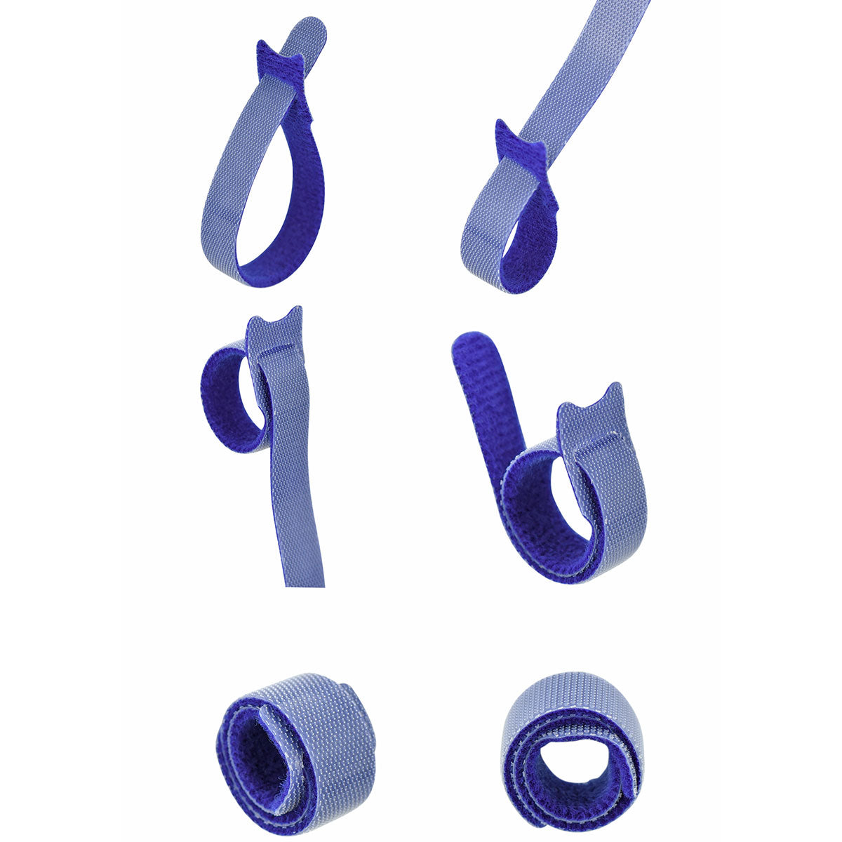 Blue Hook and Loop Cable Ties 50 Pieces