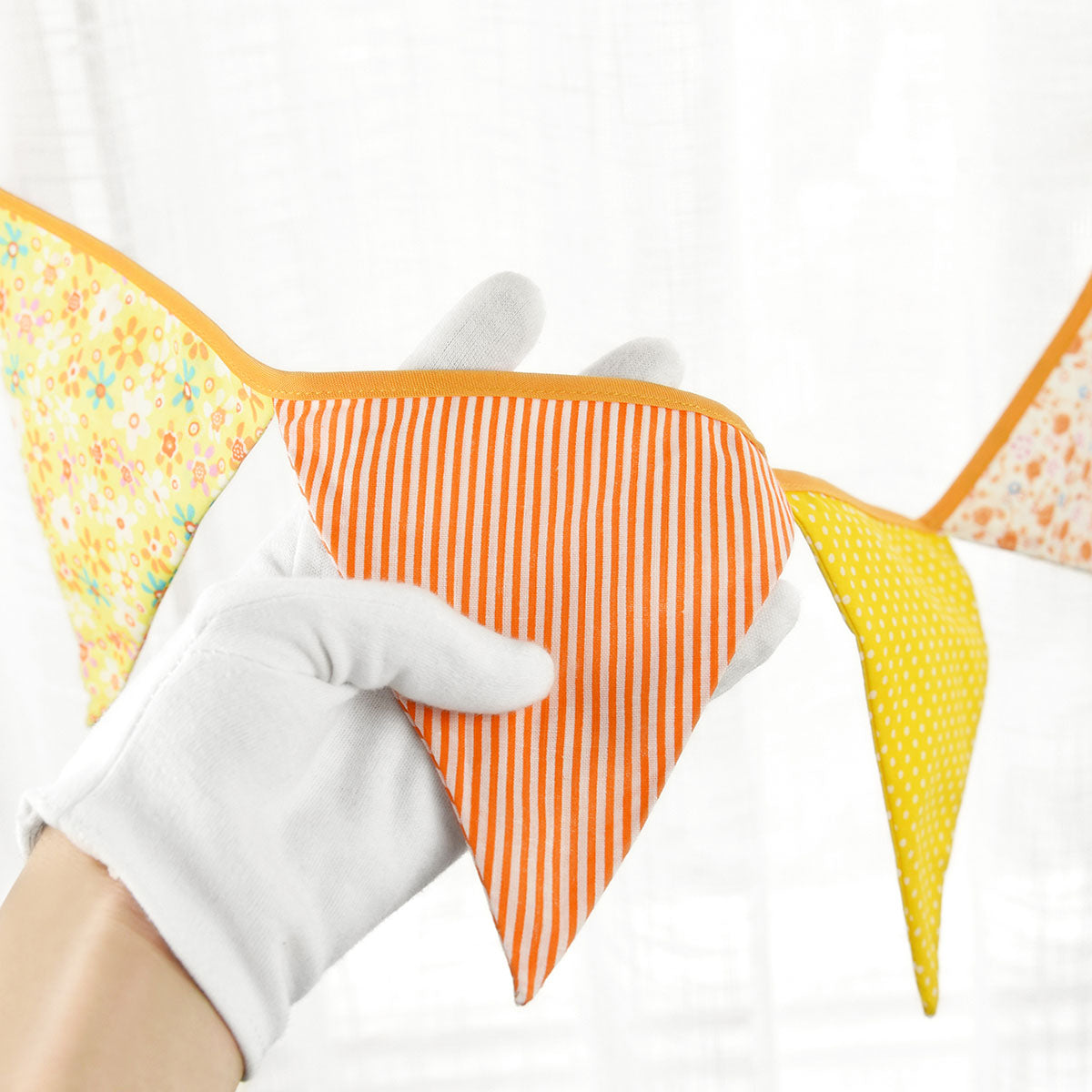 2 Orange Cotton Pennant Banners