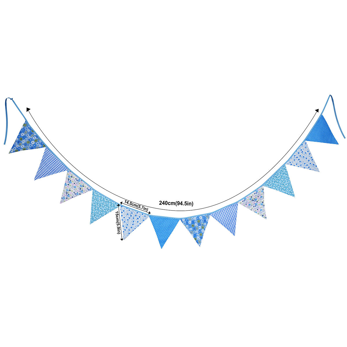 2 Blue Cotton Pennant Banners