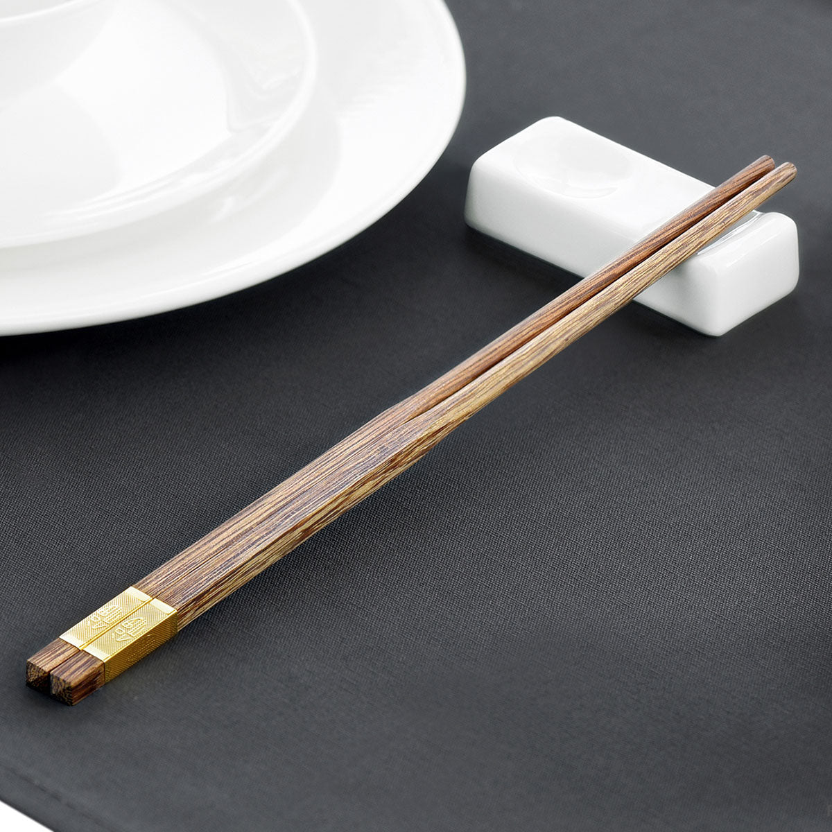"Wooden Chopsticks Reusable | Japanese Chop Sticks Set | Mildew Resistant | Chinese Food, Sushi, Teppanyaki (Wengewood with Golden Chinese Character ""Fu"" Meaning Blessing 5 Pairs)"
