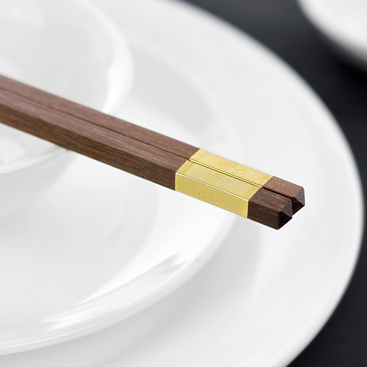 "Wooden Chopsticks Reusable | Japanese Chop Sticks Set | Mildew Resistant | Chinese Food, Sushi, Teppanyaki (Red Sandalwood with Golden Chinese Character ""Fu"" Meaning Blessing 5 Pairs)"