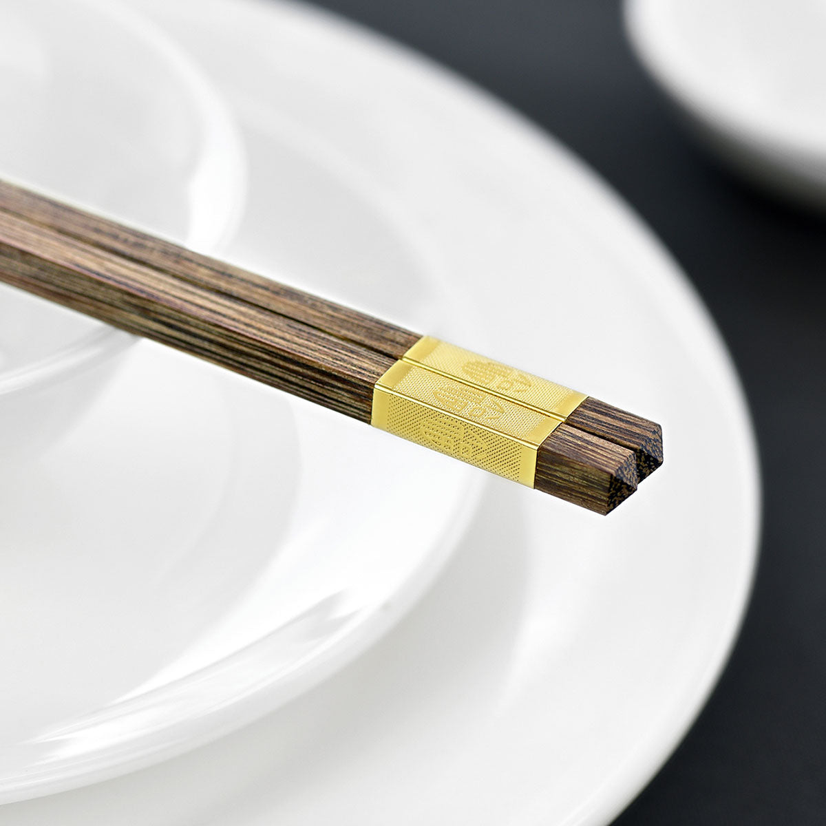 "10 Pairs Natural Solid Wenge Wood with Golden Chinese Character Golden ""Fu"" Wooden Chopsticks Collection Chinese Japanese Korean Chopsticks Oriental Chop Sticks Mildew Resistant, for Chinese Food, Sushi, Teppanyaki"