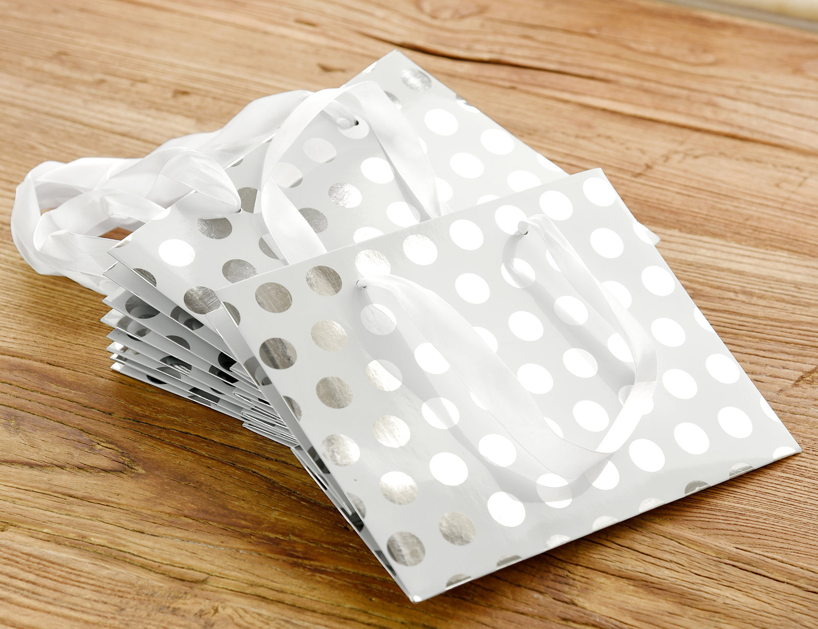 5 Silver Polka Dots Paper Bags with Handles (Small)