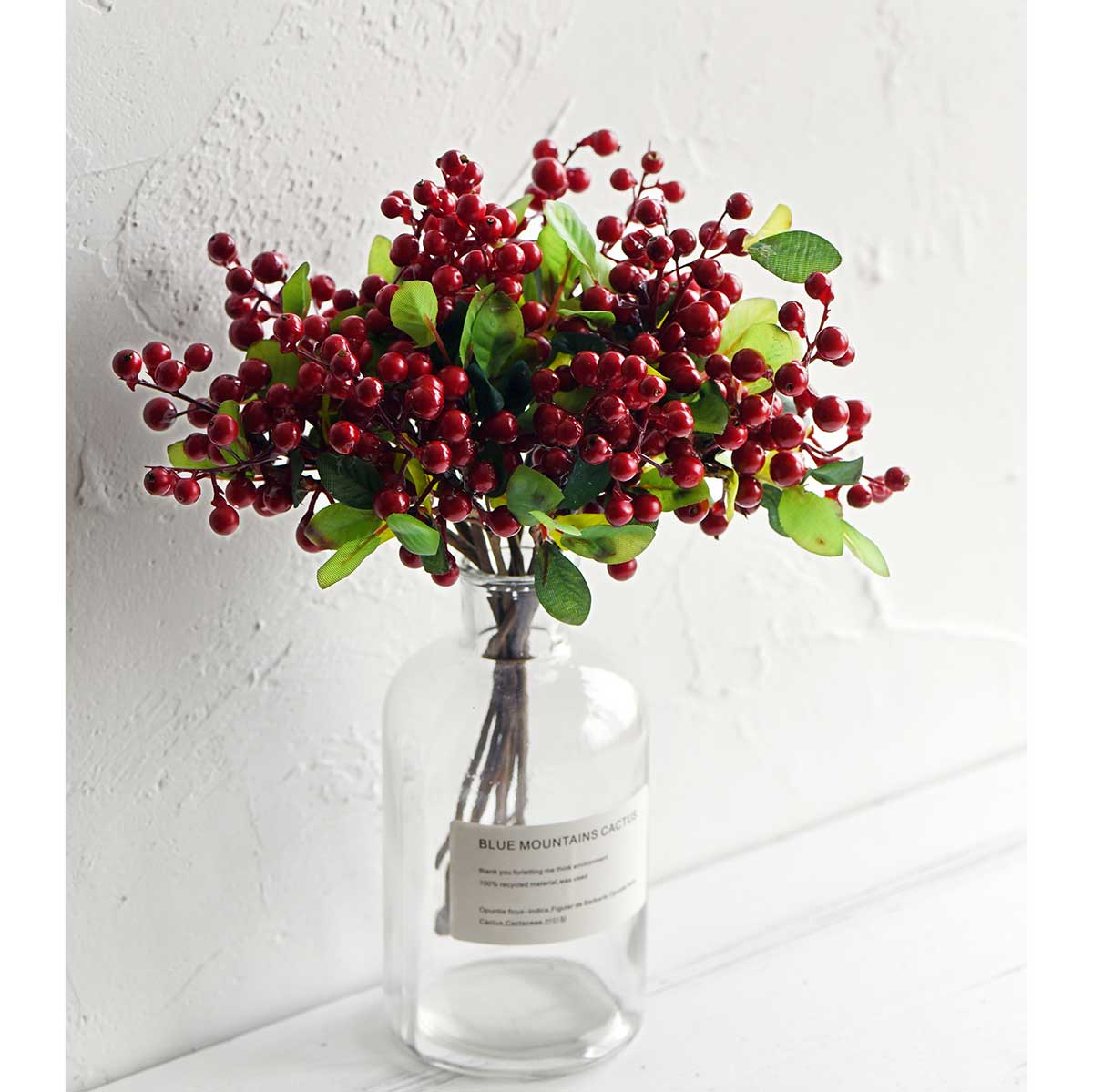 10 Stems Artificial Red Berry Bouquet 9.8 Inches (25cm)