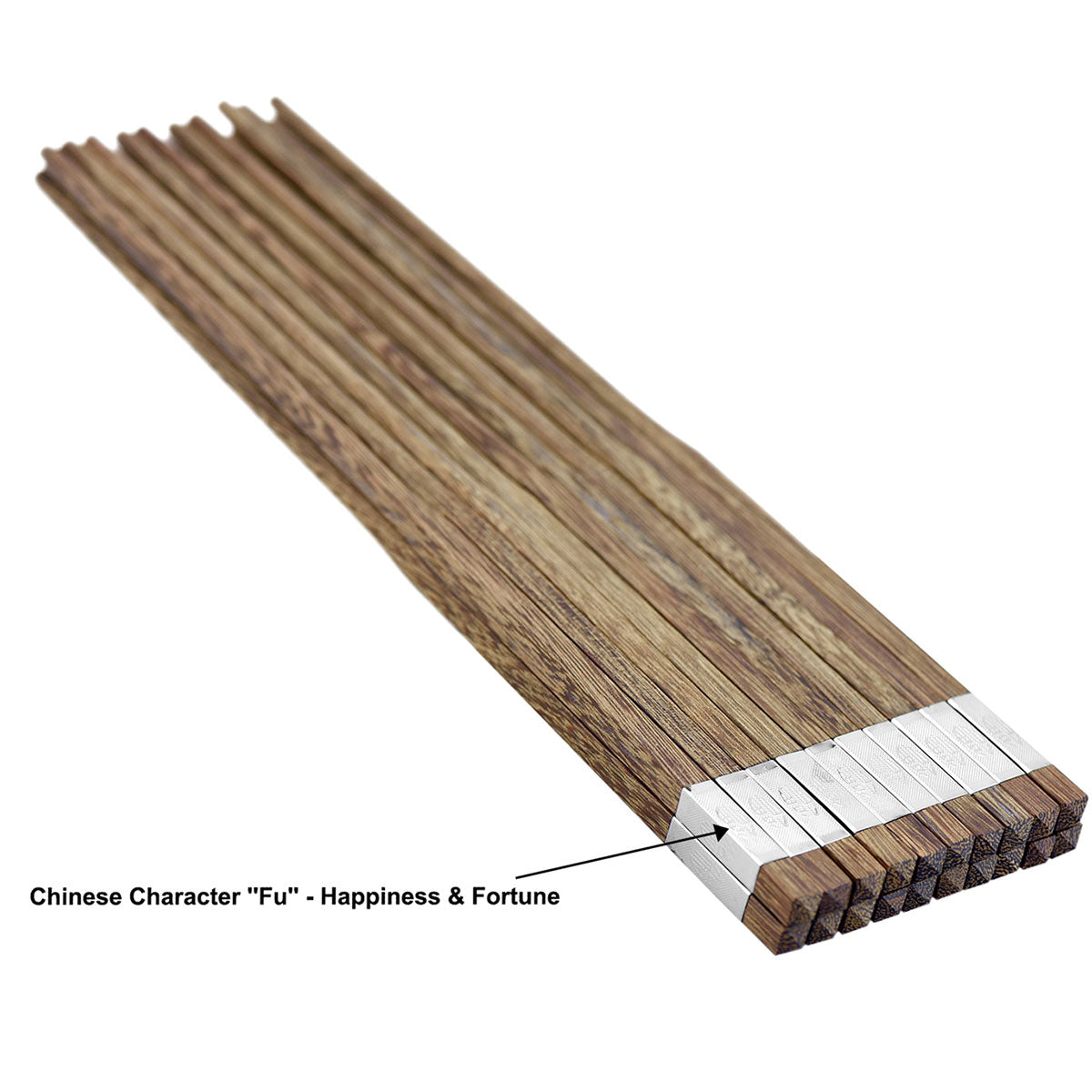 "10 Pairs Natural Solid Wenge Wood with Golden Chinese Character Silver ""Fu"" Wooden Chopsticks Collection Chinese Japanese Korean Chopsticks Oriental Chop Sticks Mildew Resistant, for Chinese Food, Sushi, Teppanyaki"