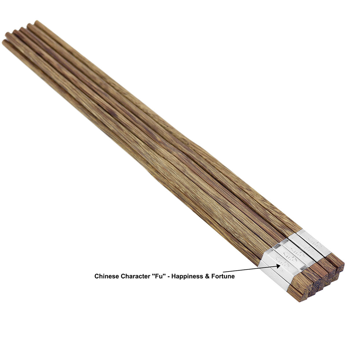 "Wooden Chopsticks Reusable | Japanese Chop Sticks Set | Mildew Resistant | Chinese Food, Sushi, Teppanyaki (Wengewood with Silver Chinese Character ""Fu"" Meaning Blessing 5 Pairs)"