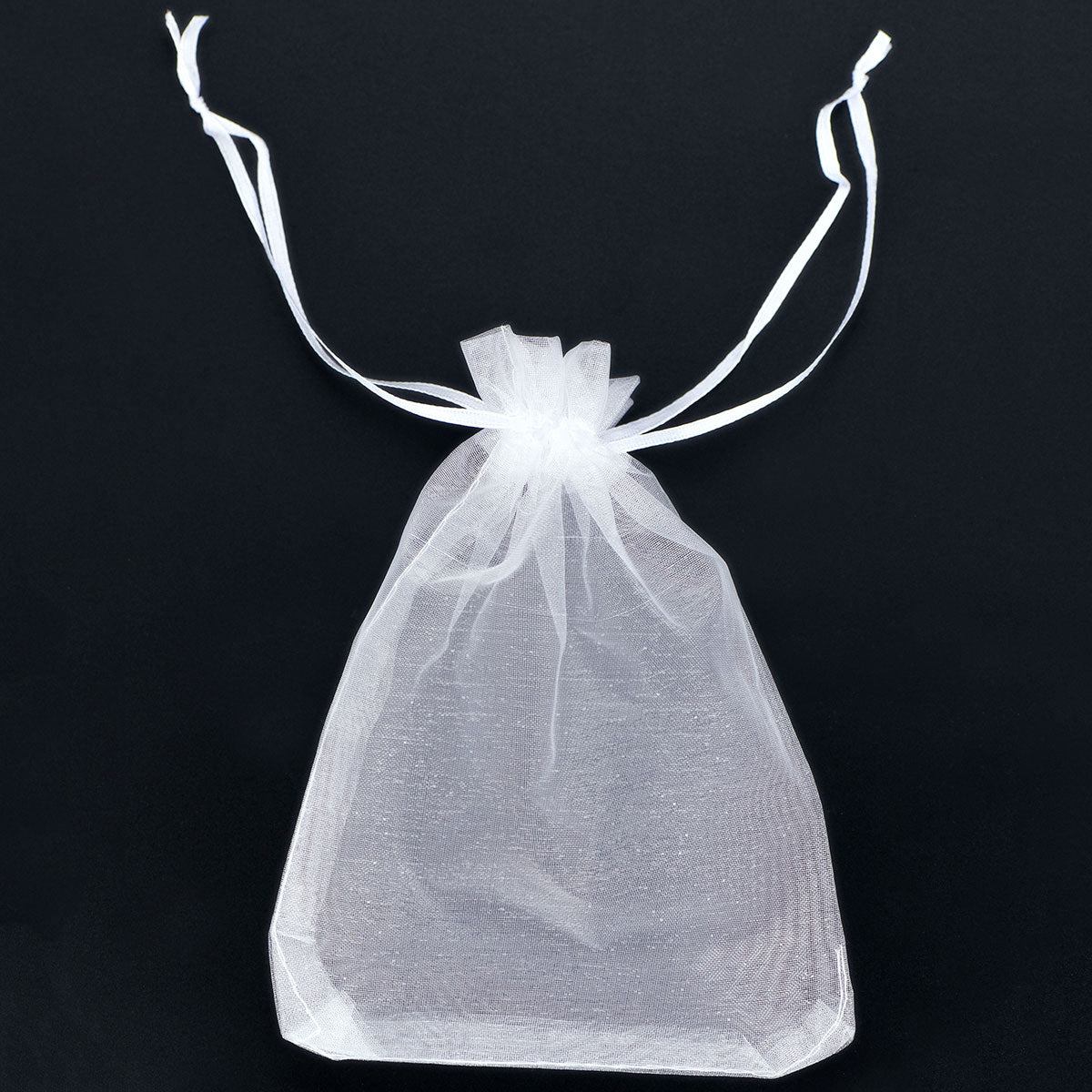 White Organza Bags with Ribbon Drawstring (Medium) 100 Pcs/Pack