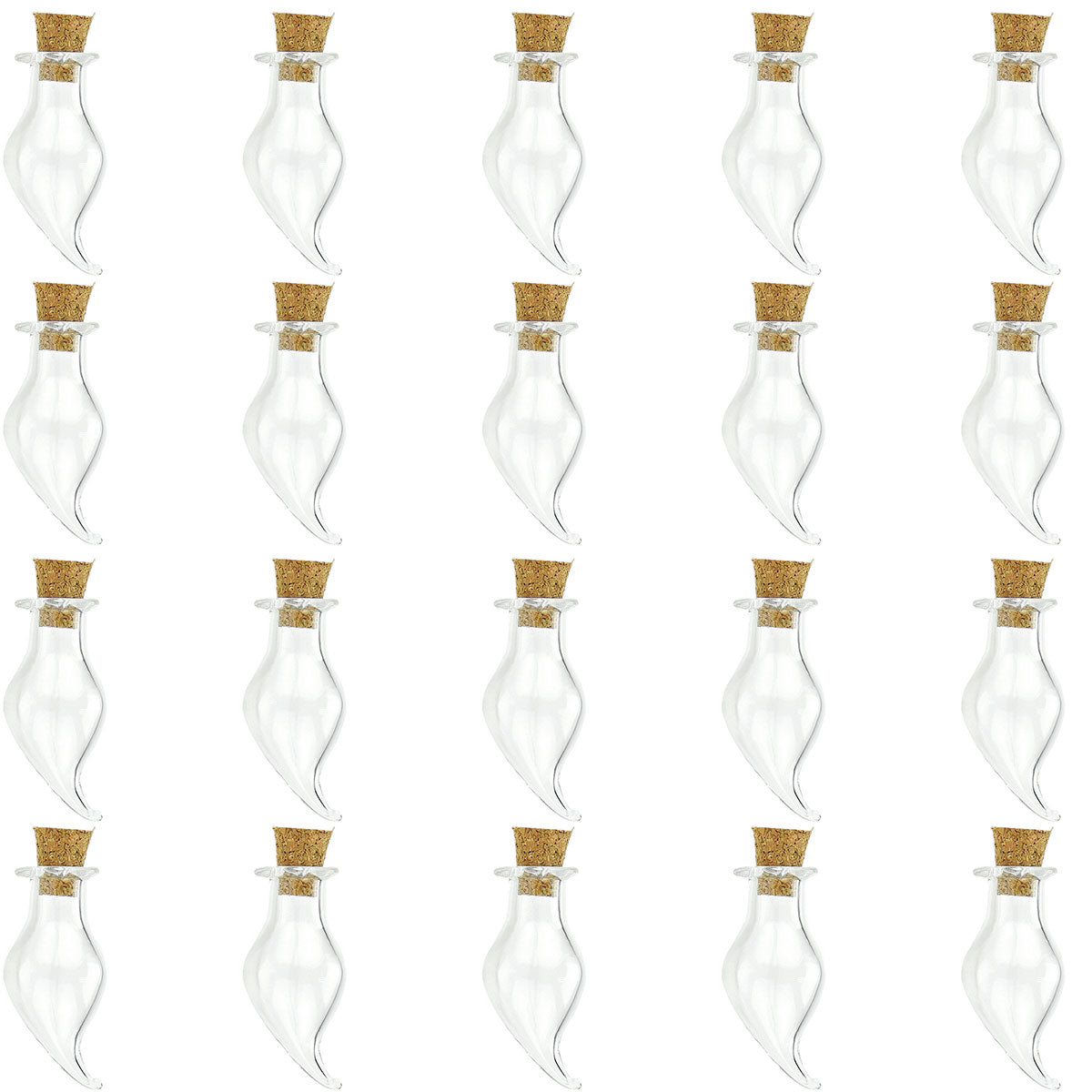20 Pcs Mini Transparent Glass Bottles with Corks (Water Drop)