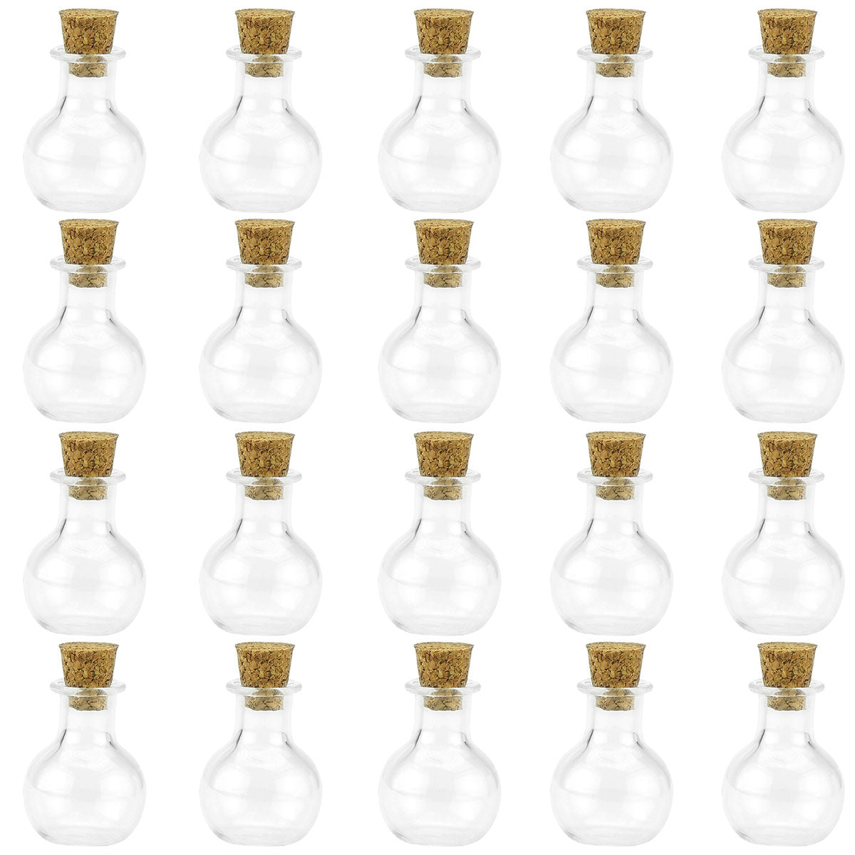 20 Pcs Mini Transparent Glass Bottles with Corks (Sphere 1)