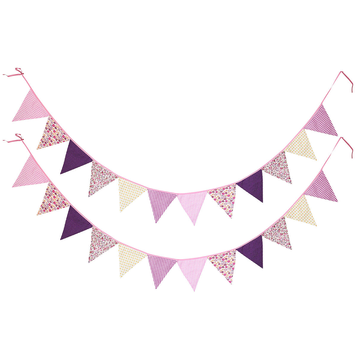 2 Purple Cotton Pennant Banners