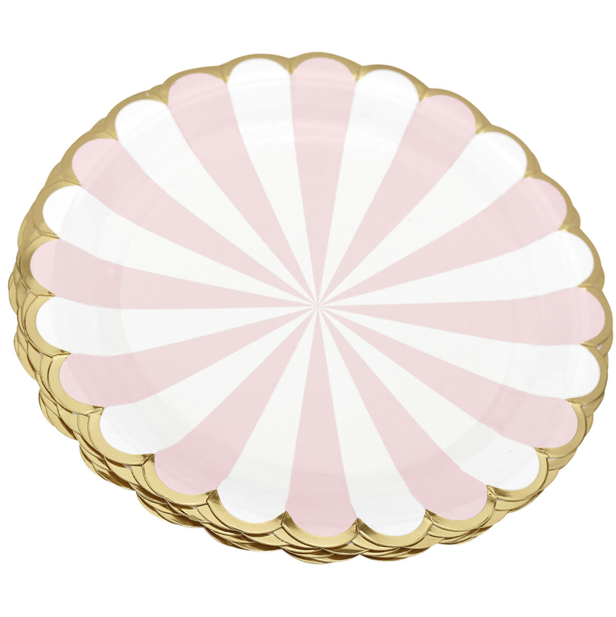 Pink and White Party Paper Plates (Large) 24 Pieces