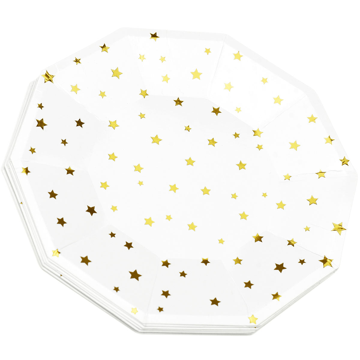 Gold Stars White Party Paper Plates (Large) 24 Pieces