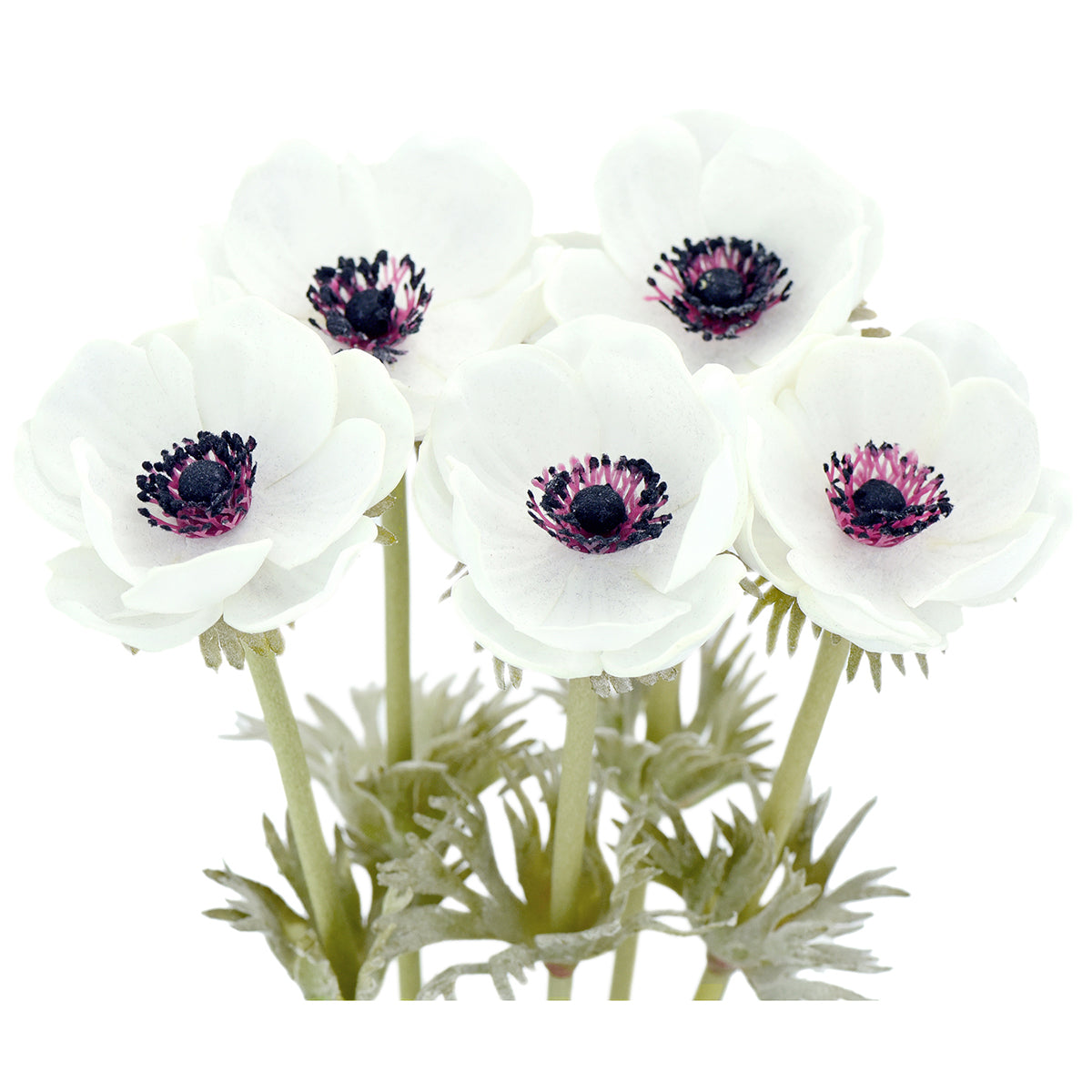 5 Long Stems (White) Anemone 'Real Touch' Artificial Flower