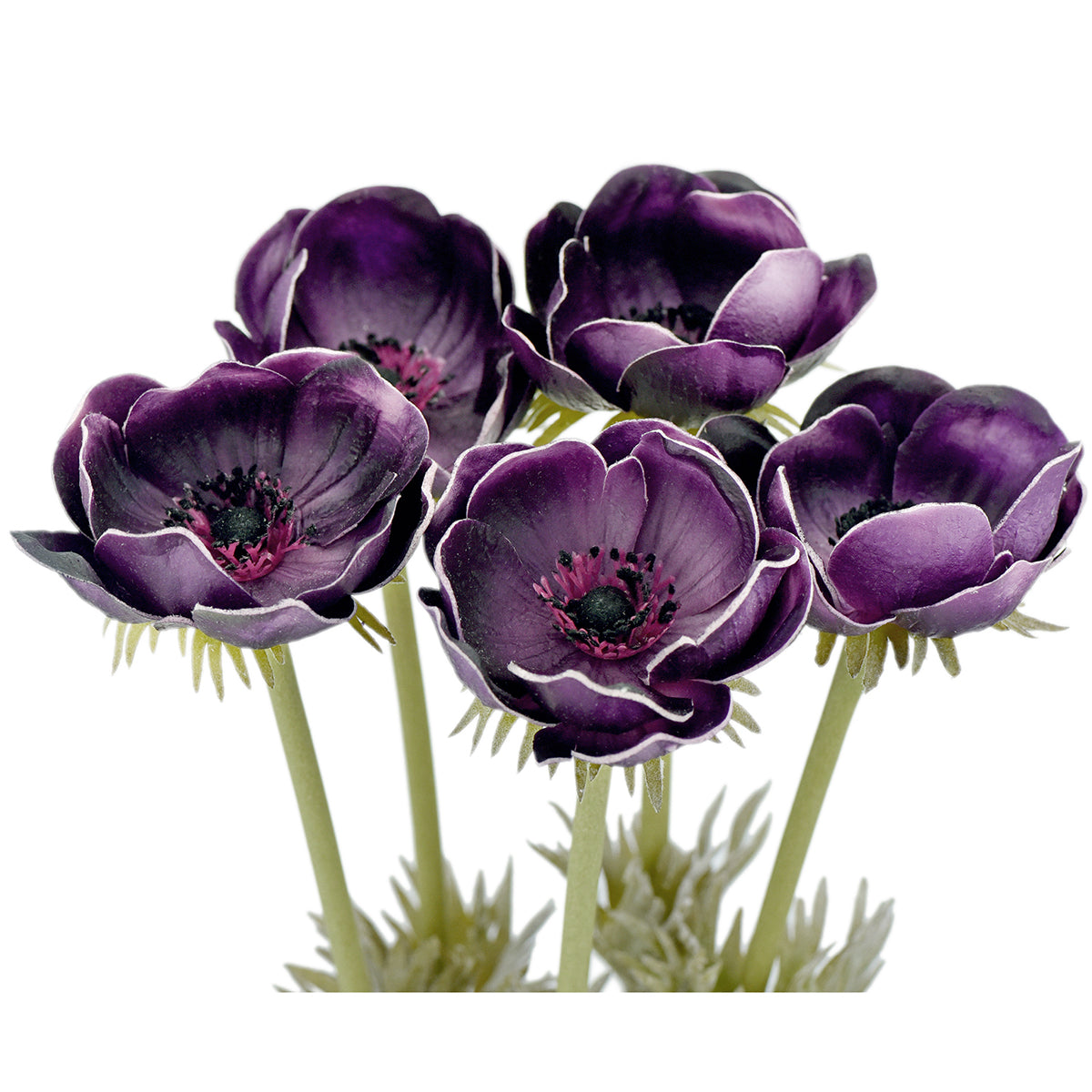 5 Long Stems (Purple) Anemone 'Real Touch' Artificial Flower