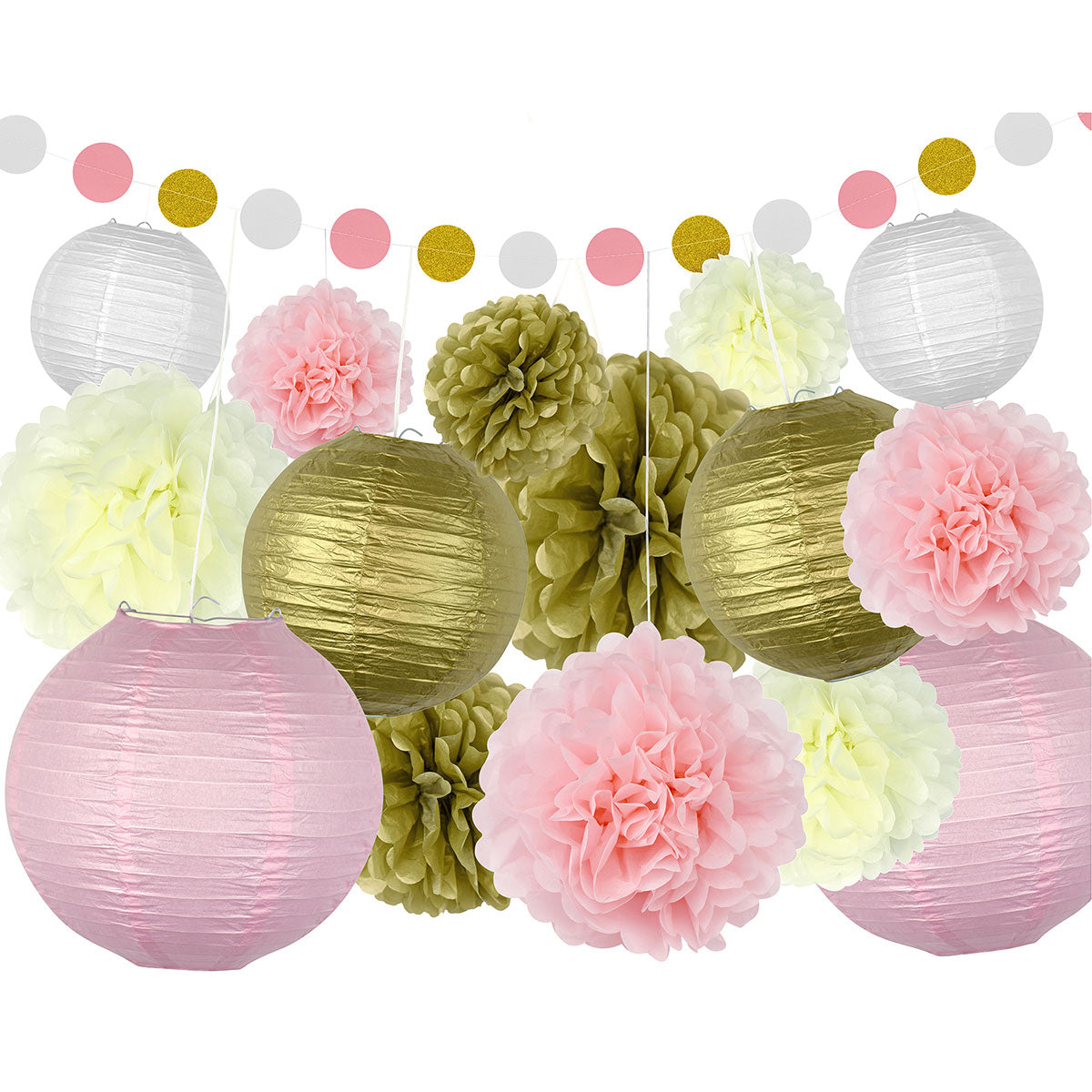 Pink and Gold Party Decoration Set
