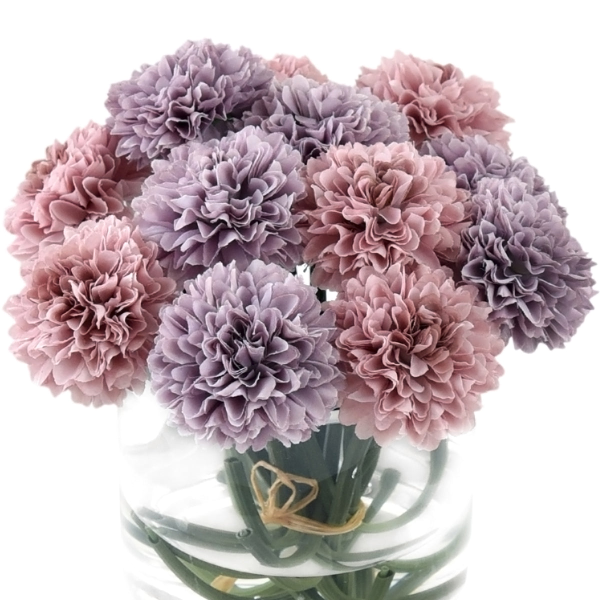 Faux Pink and Purple Chrysanthemum in a glass vase with water