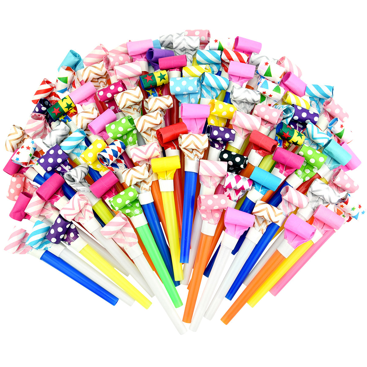 Random Color 24 Pieces Metallic Noise Makers Party Blowouts Whistles Glitter Fringe Noisemaker Party Supplies Blowouts Children Toy for Party Sport Games