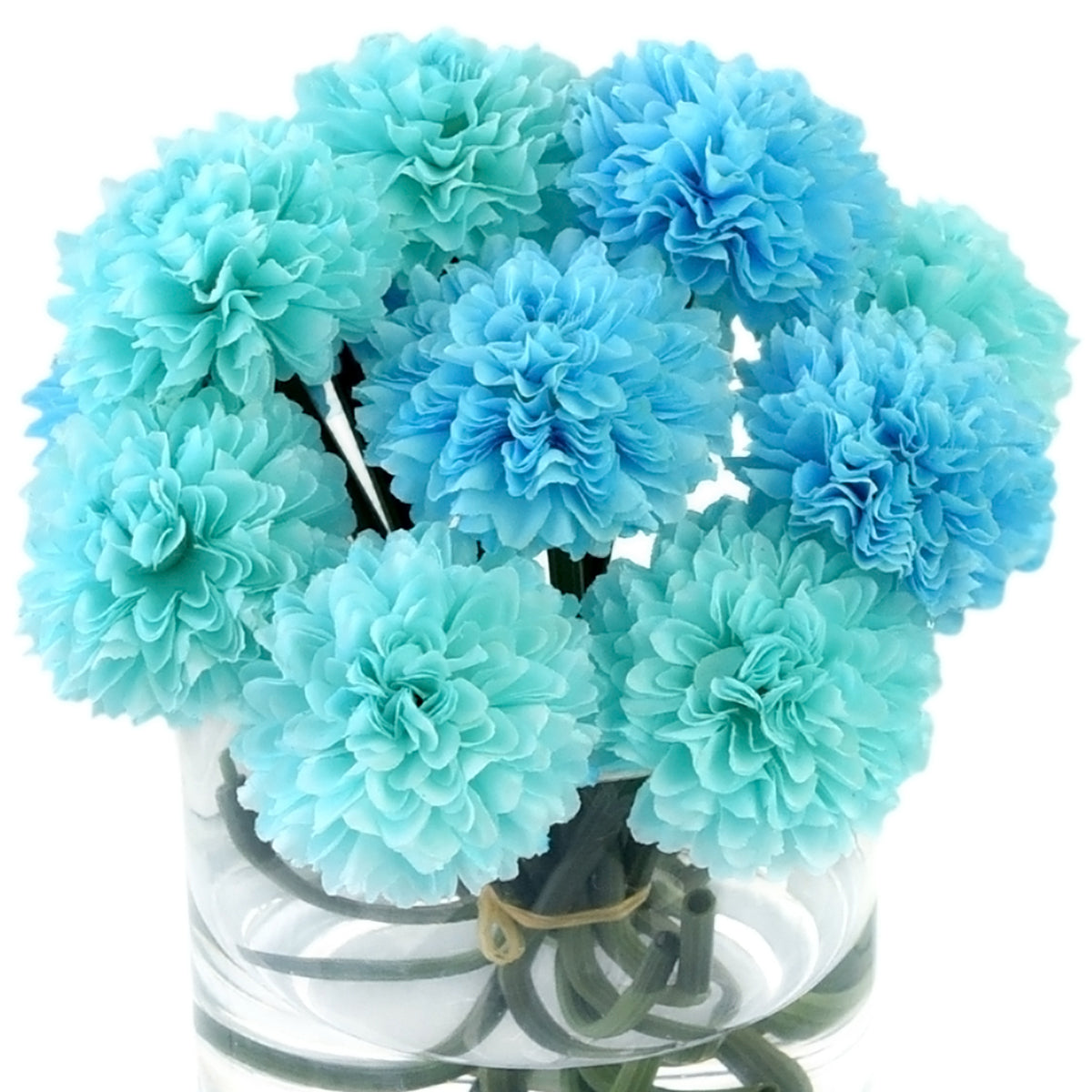 Faux Blue Chrysanthemum in a glass vase with water