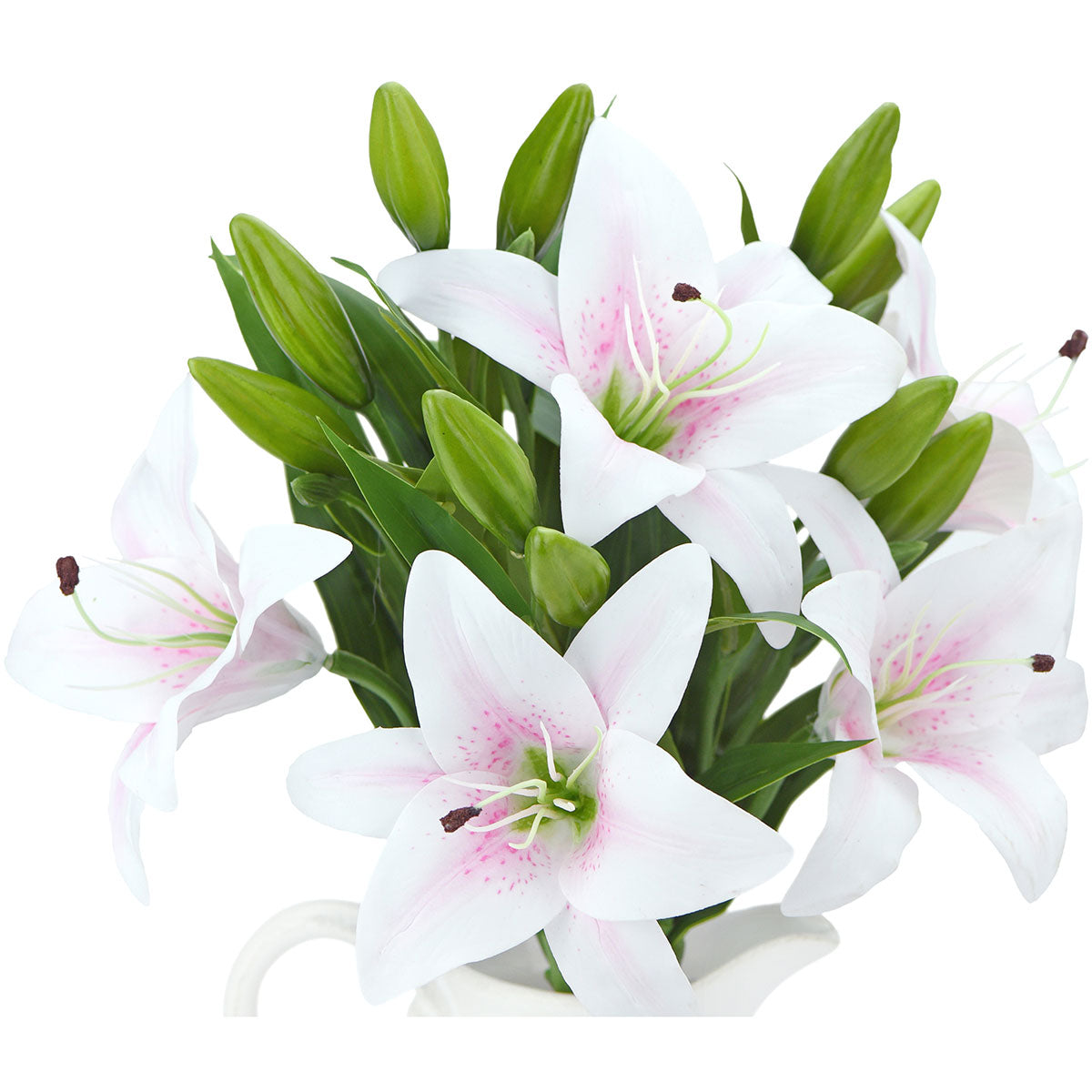 Real Touch White Light Pink Lilies Artificial Flower Bouquet 5 Stems Fiveseasonstuff