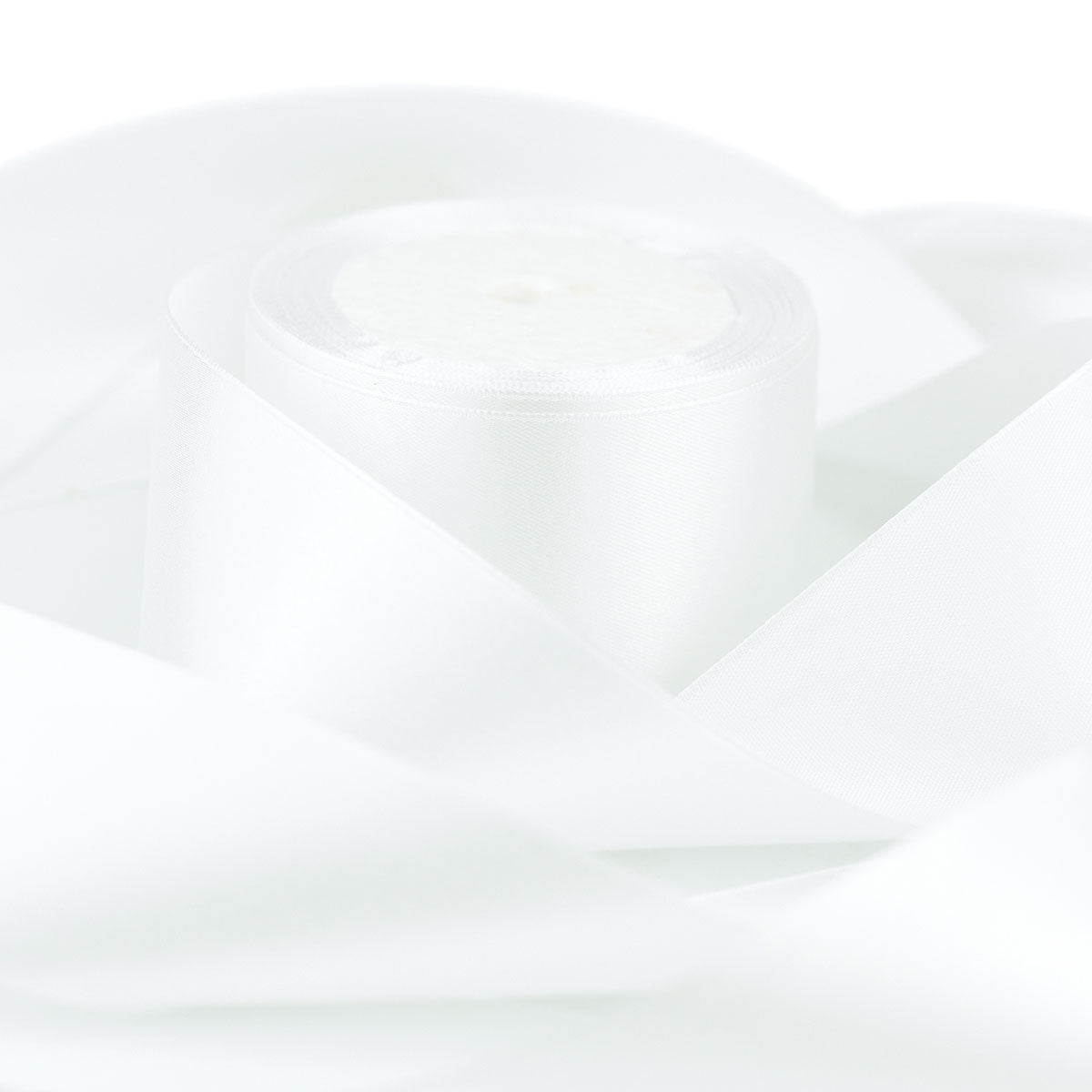 50mm White Single Sided Satin Ribbon