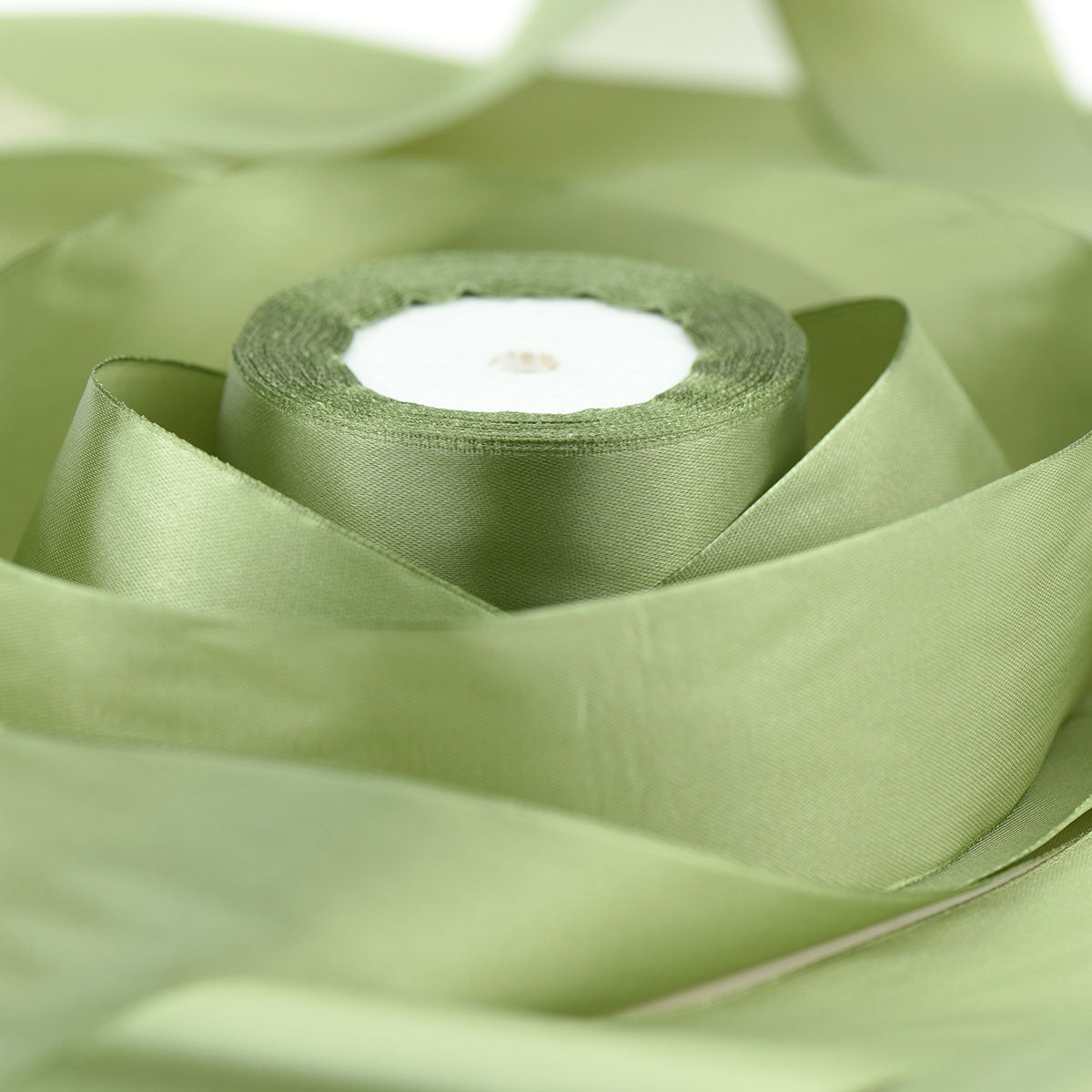 50mm Olive Green Single Sided Satin Ribbon