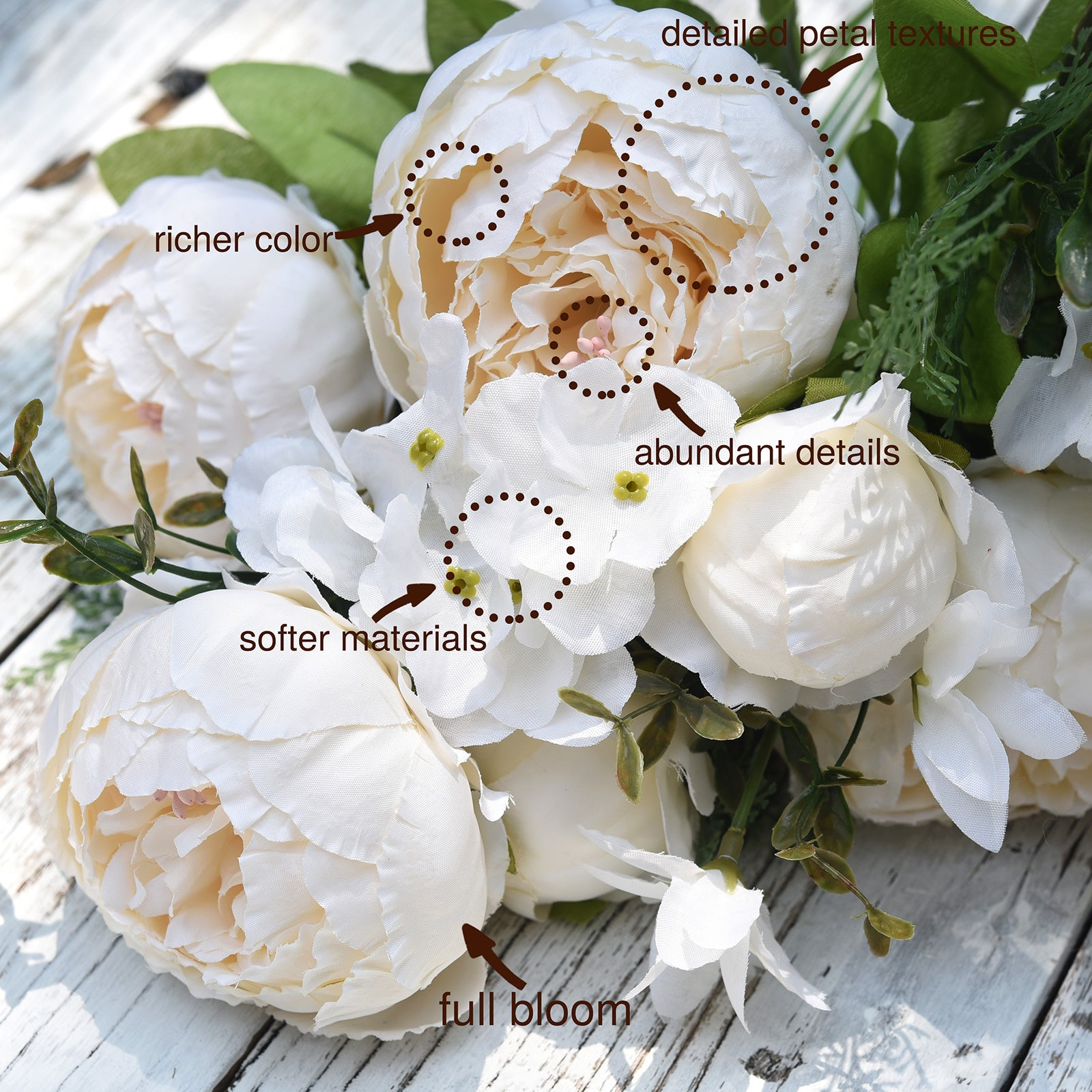 FiveSeasonStuff (Beige)Silk Peonies Artificial Flower Bouquet