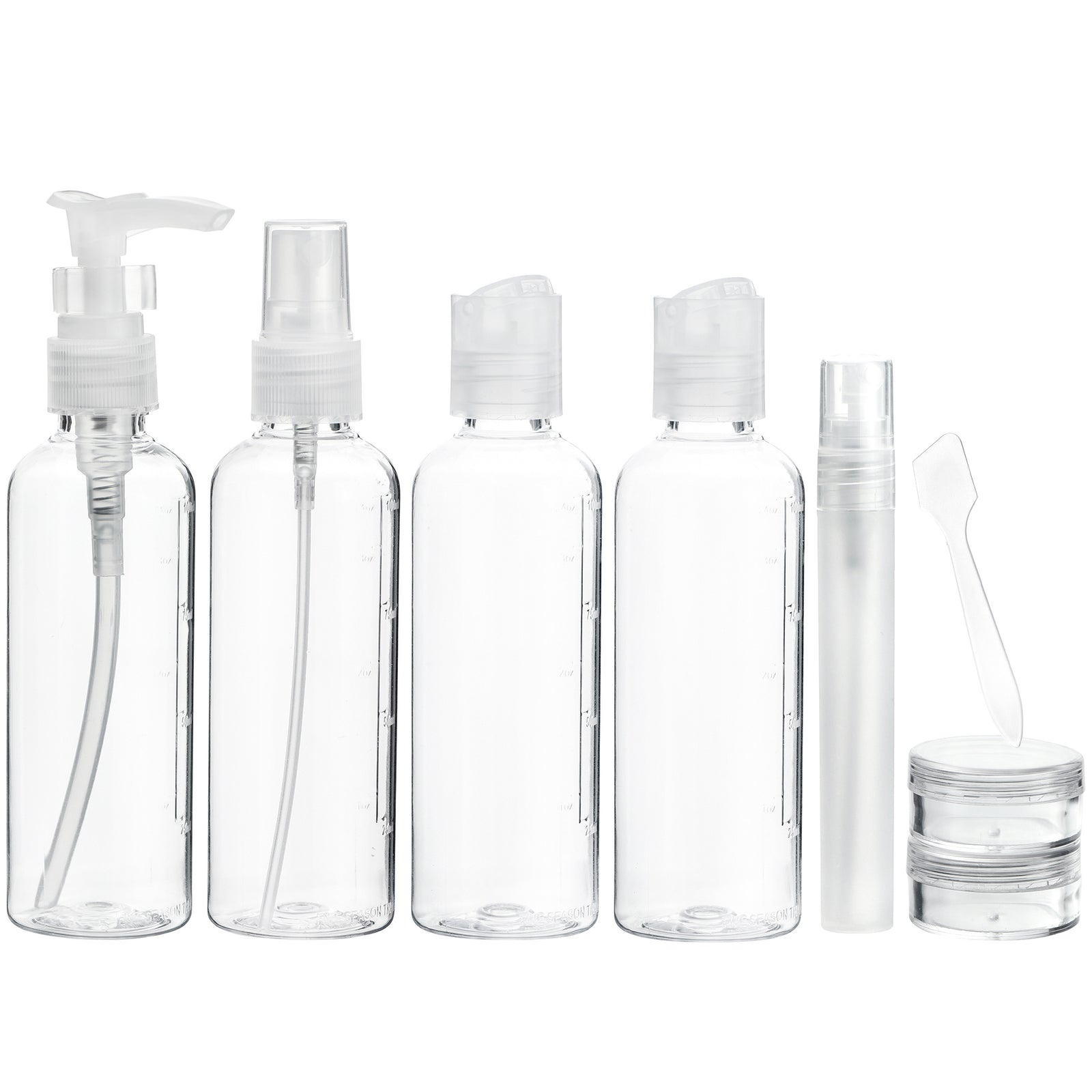 8 Pieces Clear Toiletry Travel Bottles Set
