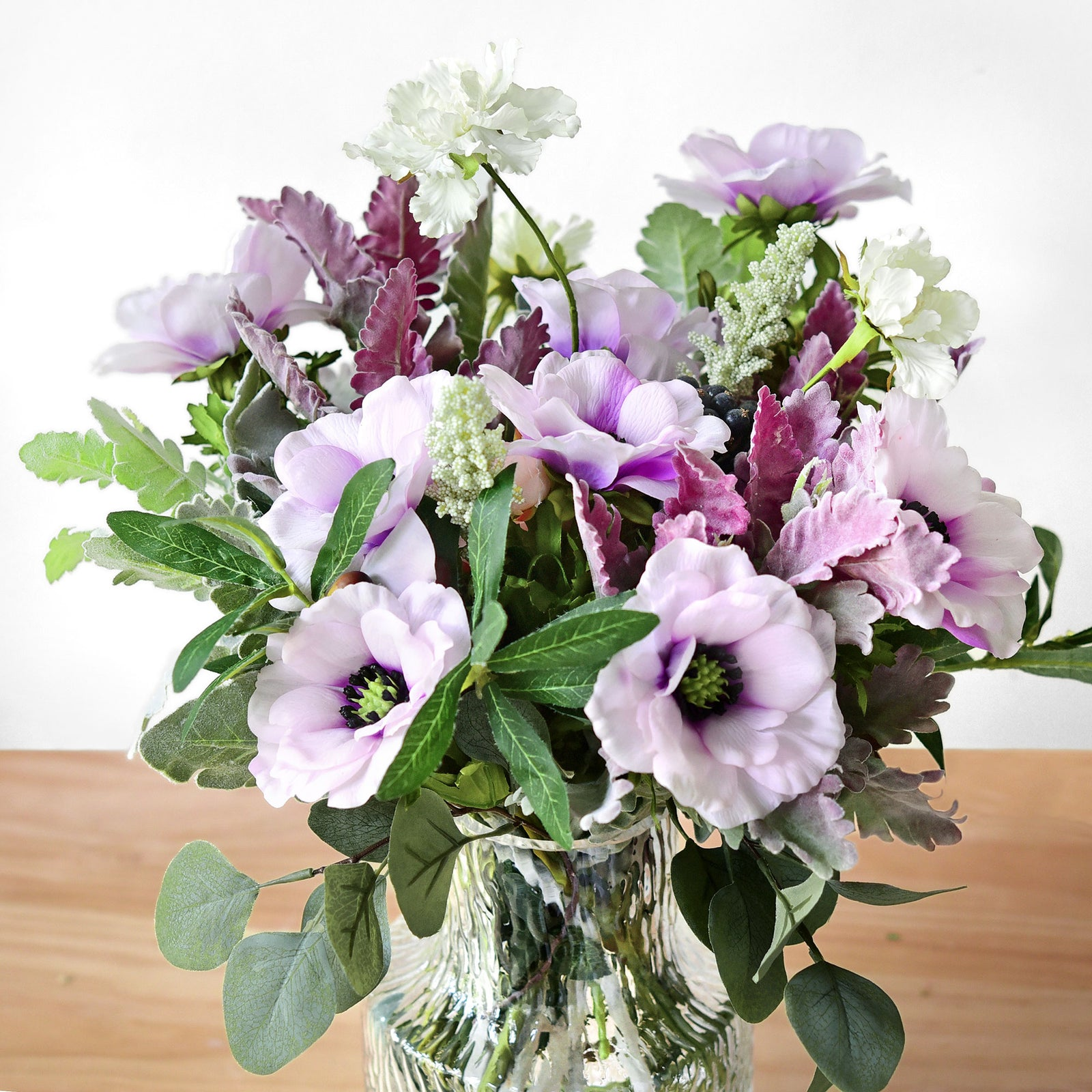 9 Long Stems of 'Real Touch' (Violet Purple) Artificial Anemone Silk Flowers with Leaves 48cm (18.9 inches)