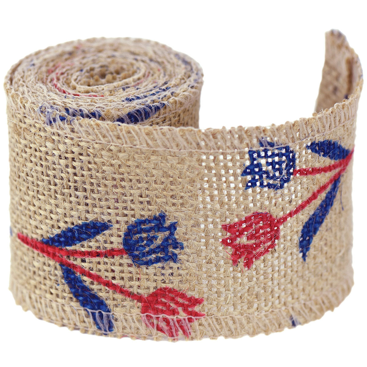 FiveSeasonStuff Natural Burlap Ribbon, Hessian Jute Ribbon Twine Roll, for Gift Wrap Packaging, Wedding Décor, Home Party Art Craft DIY Decoration (Blue & Red Flowers)