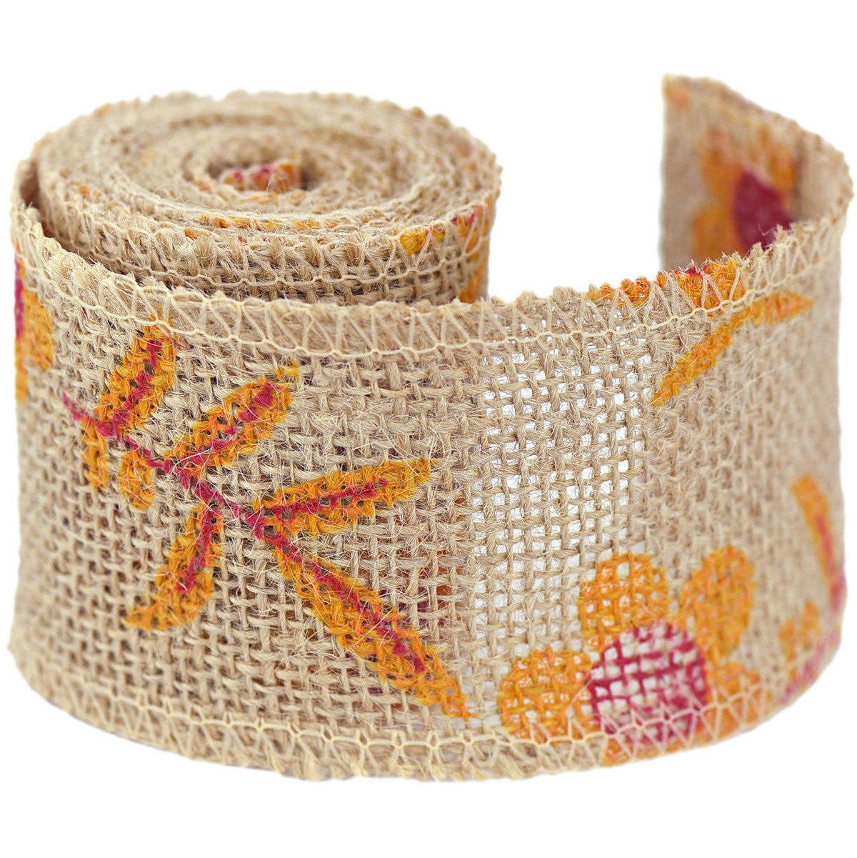 FiveSeasonStuff Natural Burlap Ribbon, Hessian Jute Ribbon Twine Roll, for Gift Wrap Packaging, Wedding Décor, Home Party Art Craft DIY Decoration (Yellow Flowers)