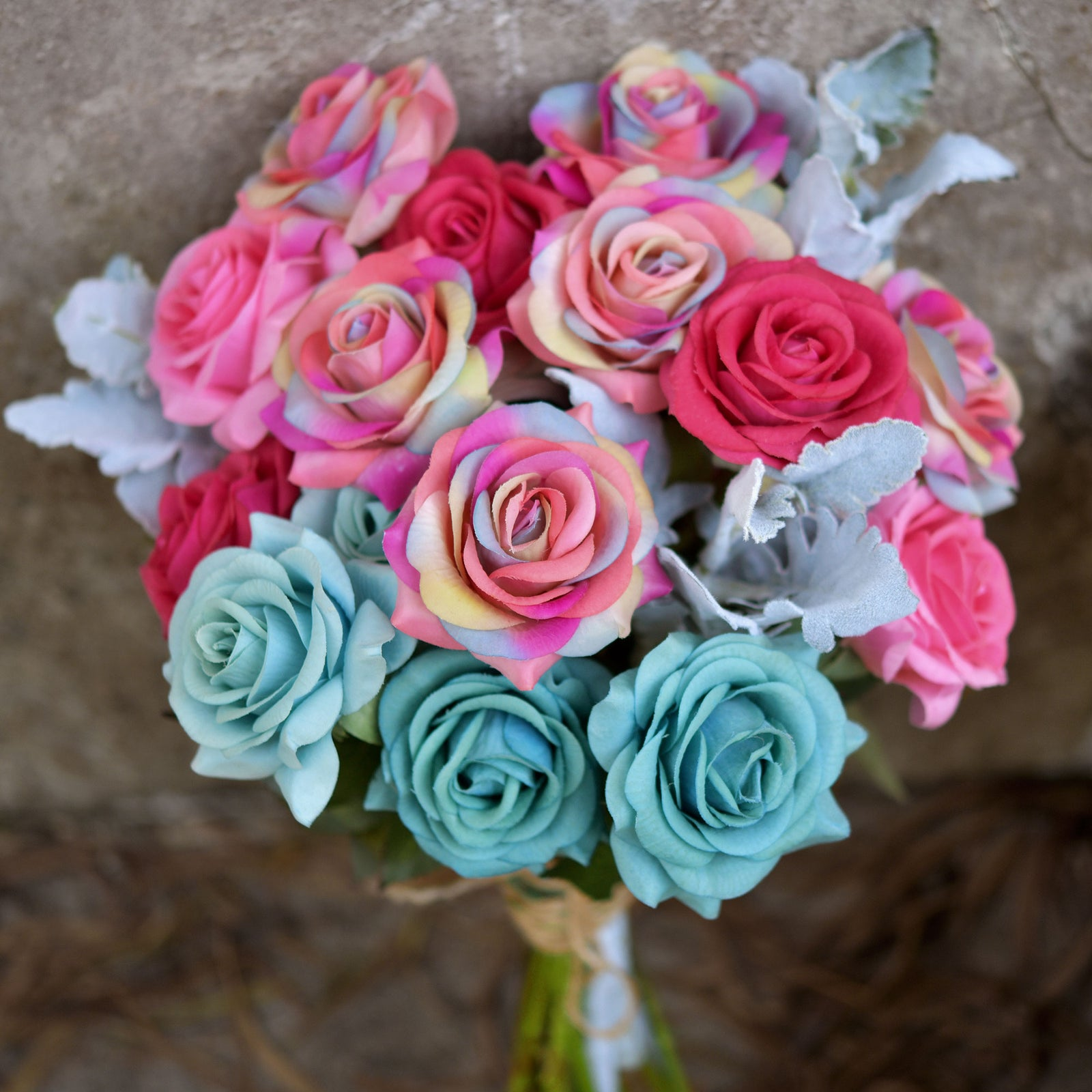 Mixed Pink Flowers Bridal Bouquet With Greenery And Wire Swirls