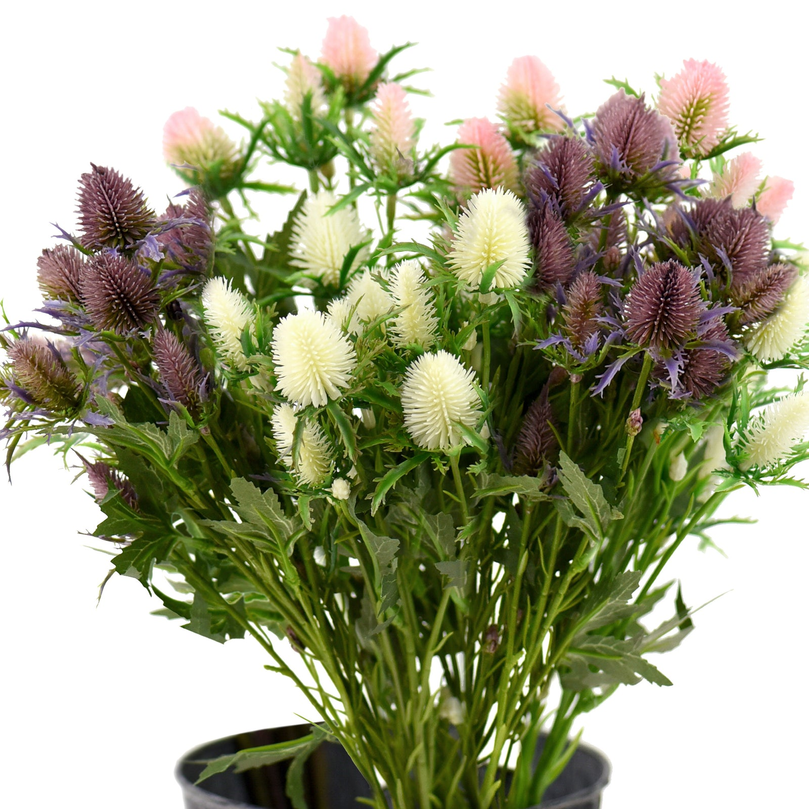 FiveSeasonStuff 5pcs Real Size Artificial Real Touch Eryngium(Sea Holly)- (Purple|White|Pink)