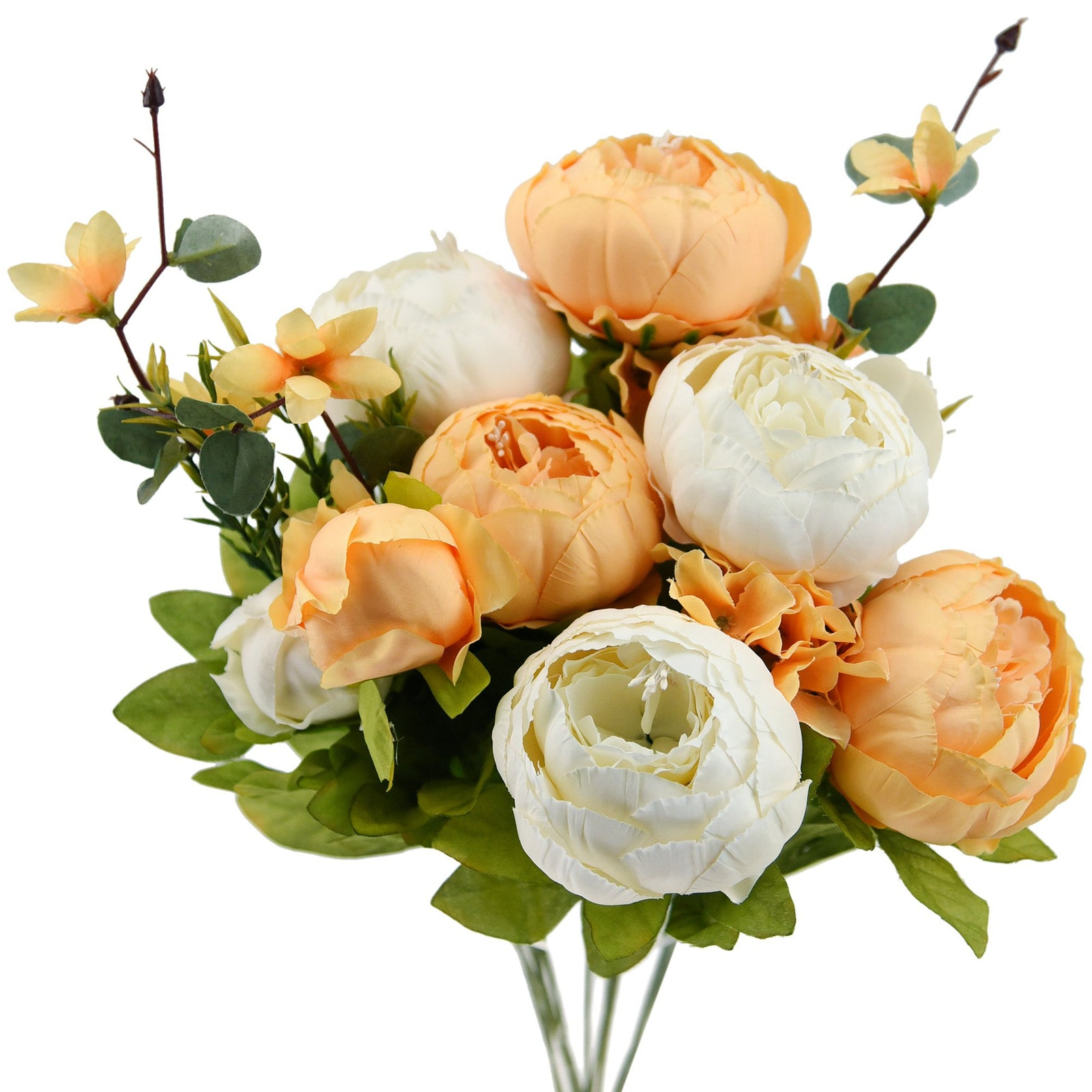 FiveSeasonStuff Orange and White Silk Peonies Artificial Flower Bouquet