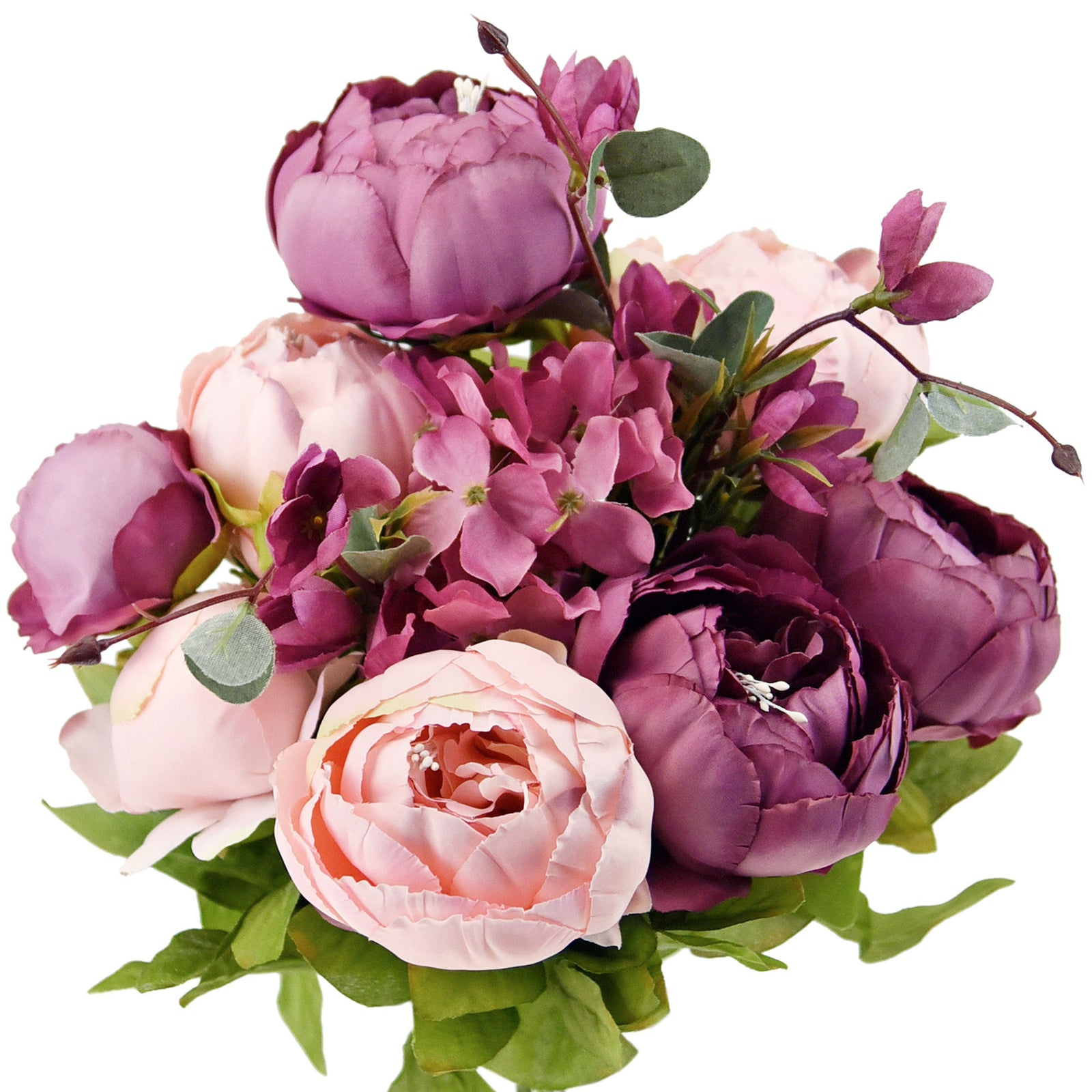 FiveSeasonStuff (Dusty Purple)Silk Peonies Artificial Flower Bouquet