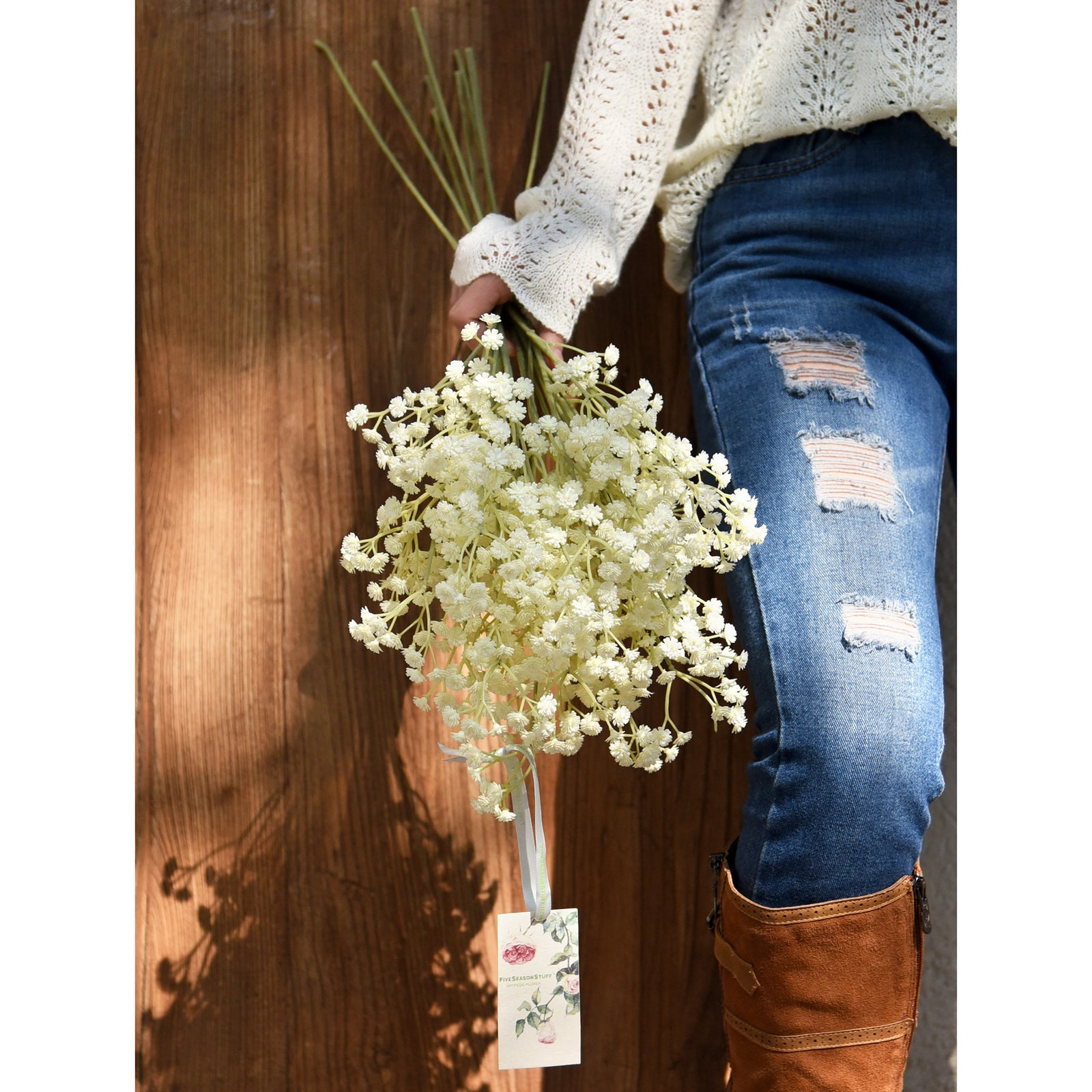 FiveSeasonStuff Baby's Breath Artificial Flowers 10 Baby's Breath Gypsophila 2 ft Tall Long Stems for Floral Arrangement, Wedding Flower Bouquet Décor (Vintage White)
