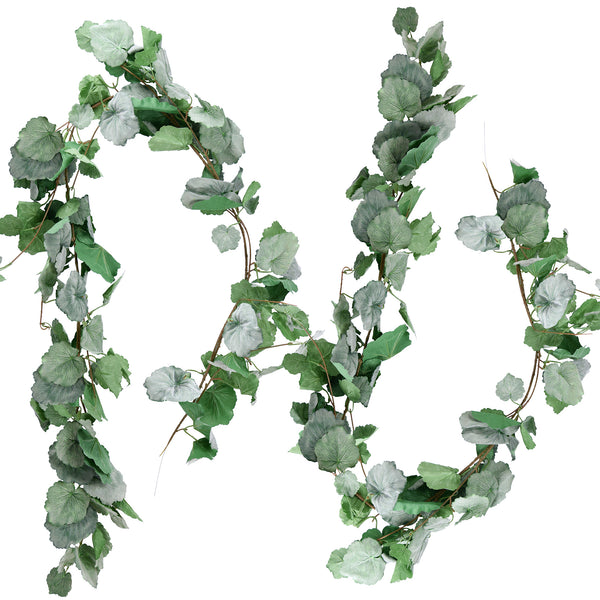 FiveSeasonStuff 2 Pcs Begonias Leaves Garland Artificial Silk Leaves Vine (3.4 metres) Hanging Decorations for Home Wall Decoration, Wedding Decor, Bridal, Wreaths (Begonias Leaves 2pcs)