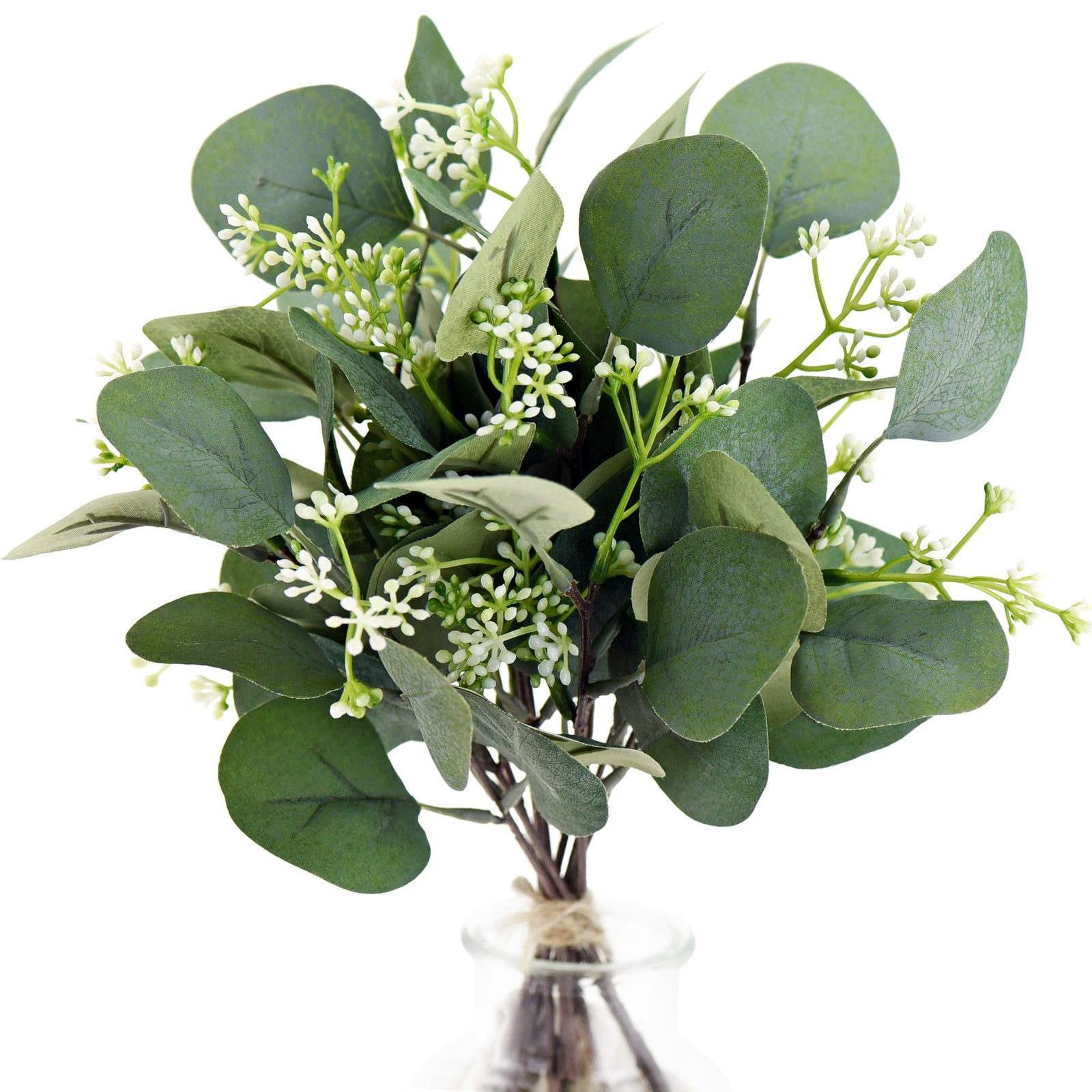 FiveSeasonStuff 10 Stems Realistic Looking Artificial Seeded Silver Dollar Eucalyptus Foliage Home Decor